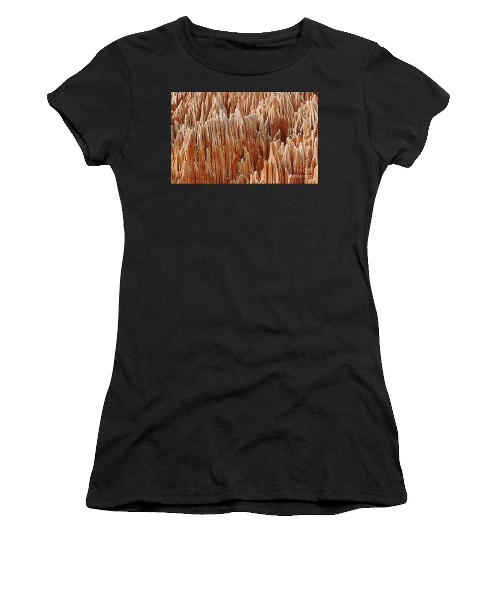 Prott Women's T-Shirt featuring the photograph red Tsingy Madagascar 4 by Rudi Prott