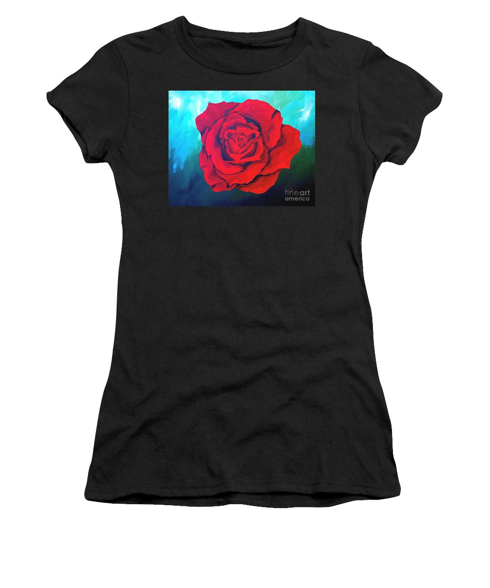 Red Rose Deep Red Rose 3d Ice Rose Women's T-Shirt (Athletic Fit) featuring the painting Red Velvet by Herschel Fall