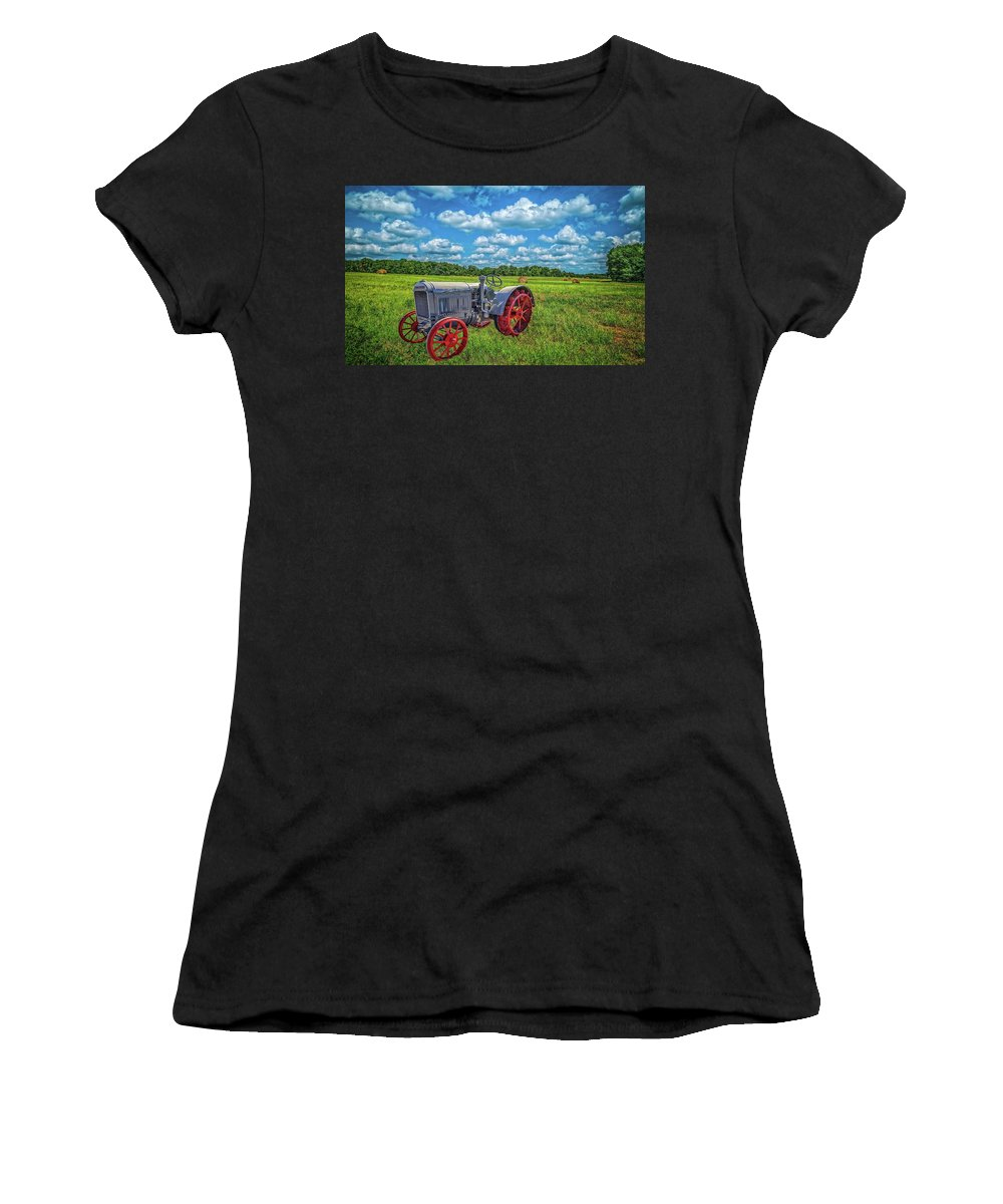 Tractors Women's T-Shirt (Athletic Fit) featuring the photograph Red Wheels by Sandra Burm