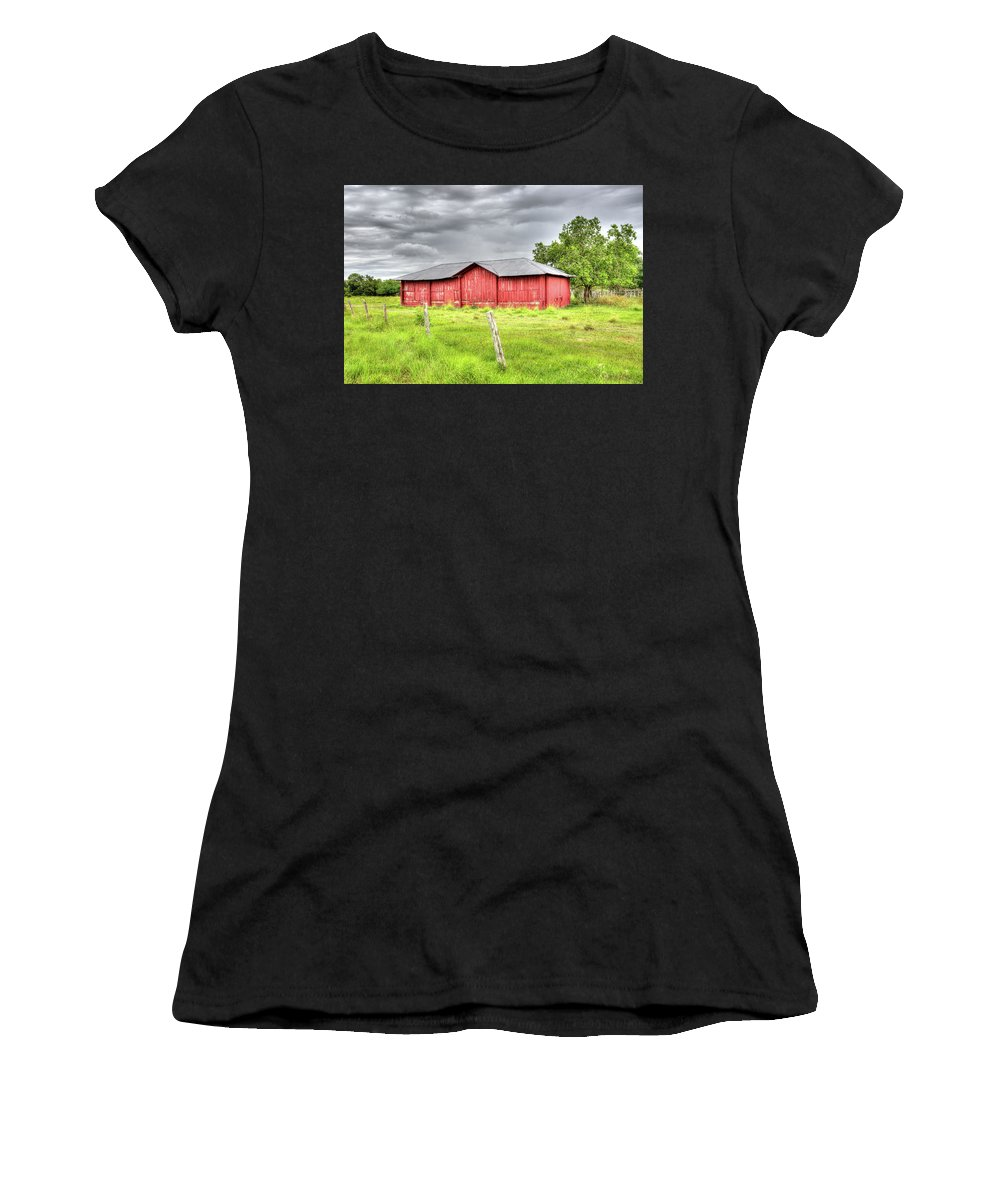 Landscape Women's T-Shirt (Athletic Fit) featuring the photograph Red Wood Barn - Edna, Tx by Greg Vajdos