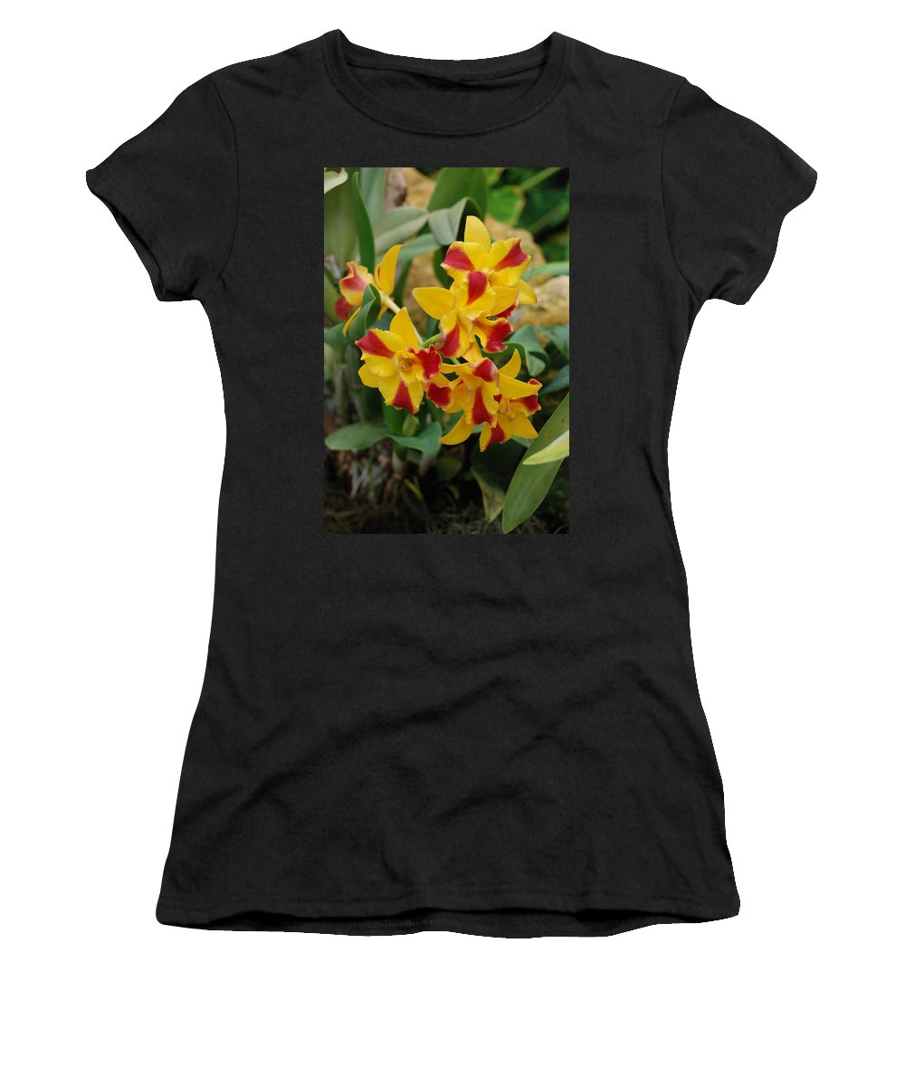 Macro Women's T-Shirt (Athletic Fit) featuring the photograph Red Yellow Orchids by Rob Hans