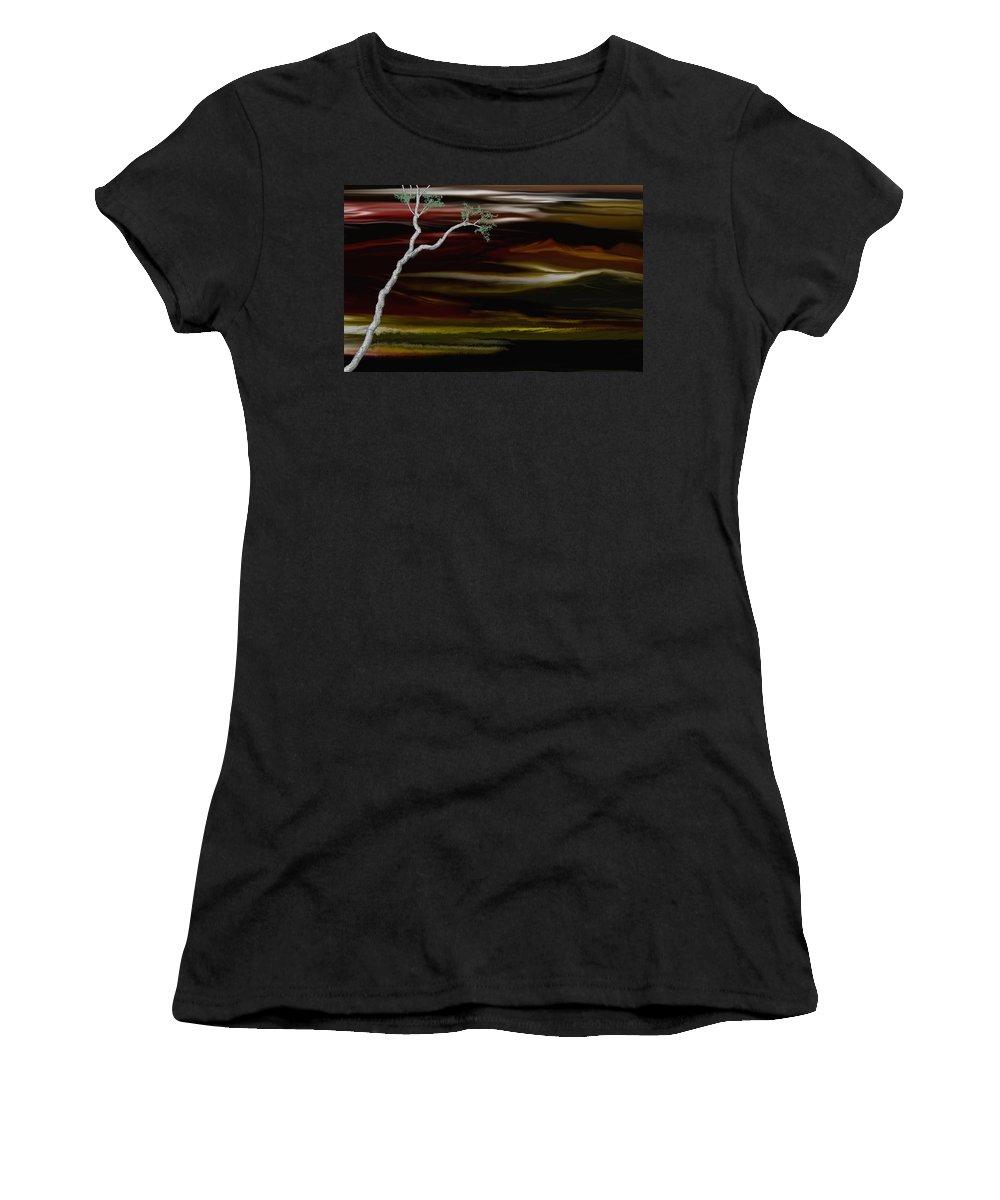 Digital Landscape Women's T-Shirt (Athletic Fit) featuring the digital art Redscape by David Lane