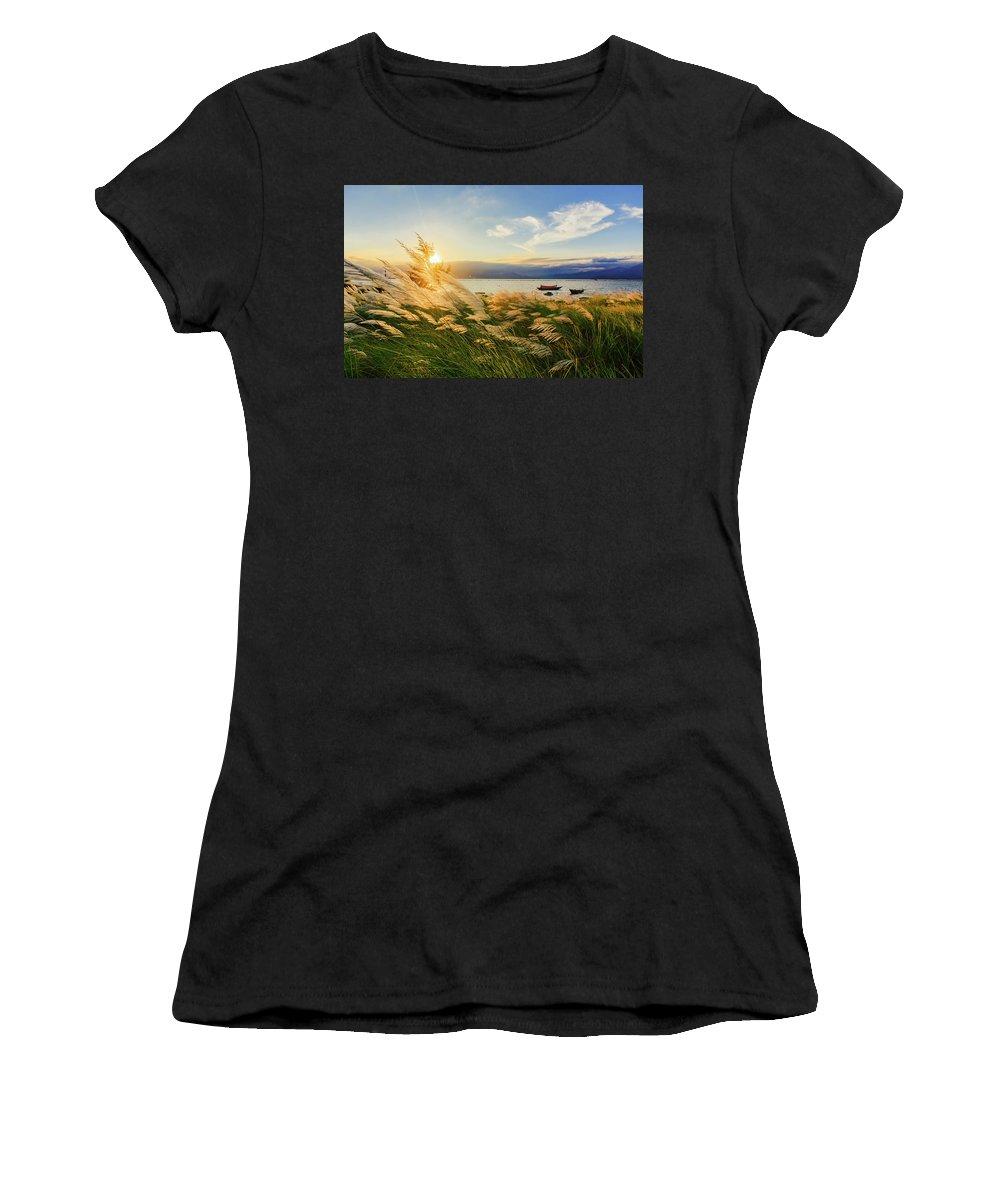 #landscape #danangcity #vietnam Women's T-Shirt (Athletic Fit) featuring the photograph Reeds by Huy Tuan Le