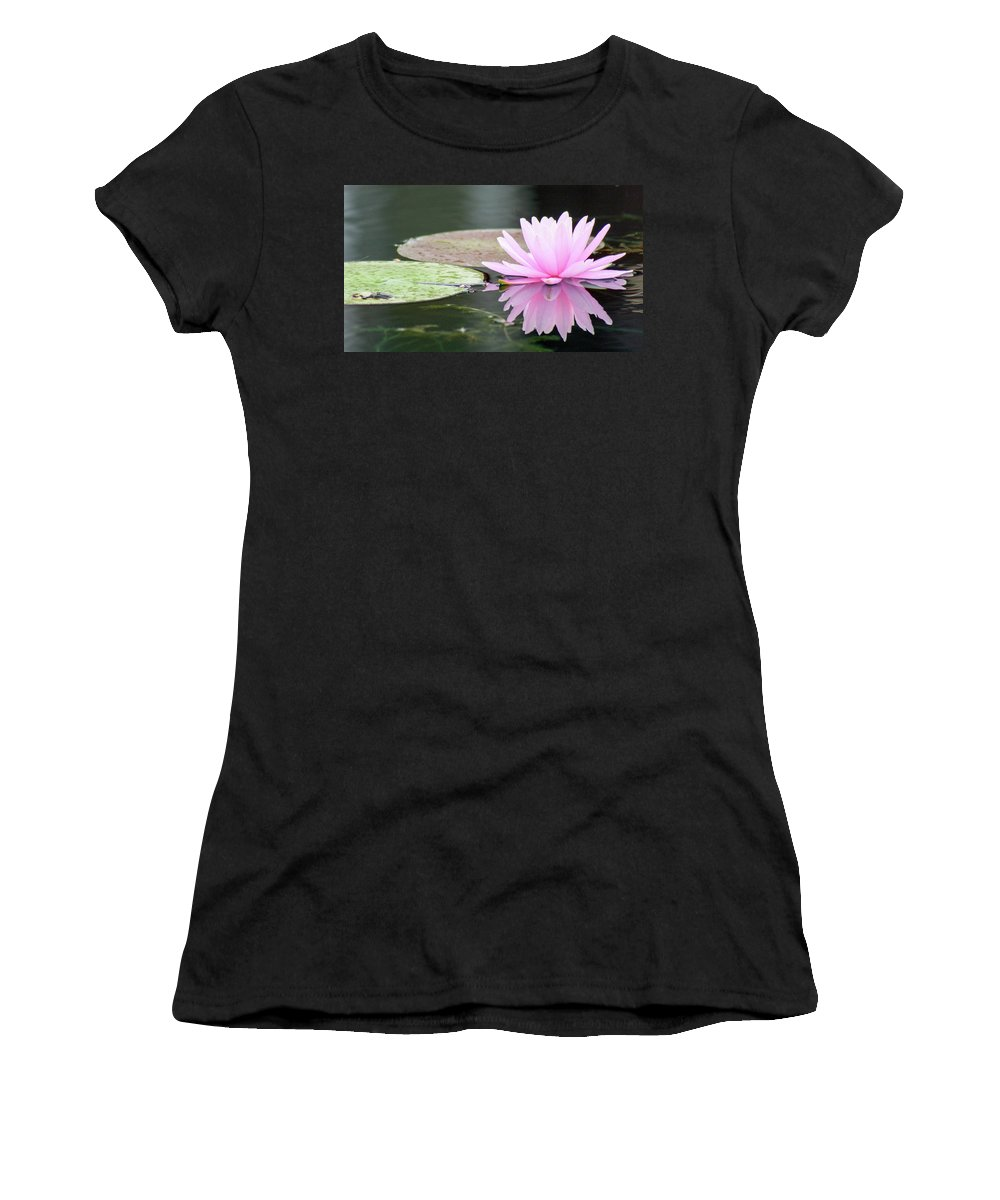 Water Lily Women's T-Shirt (Athletic Fit) featuring the photograph Reflected Water Lily by Mary Anne Delgado