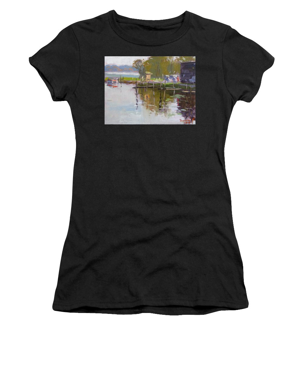 Reflections Women's T-Shirt featuring the painting Reflections At Ashville Bay Marina by Ylli Haruni