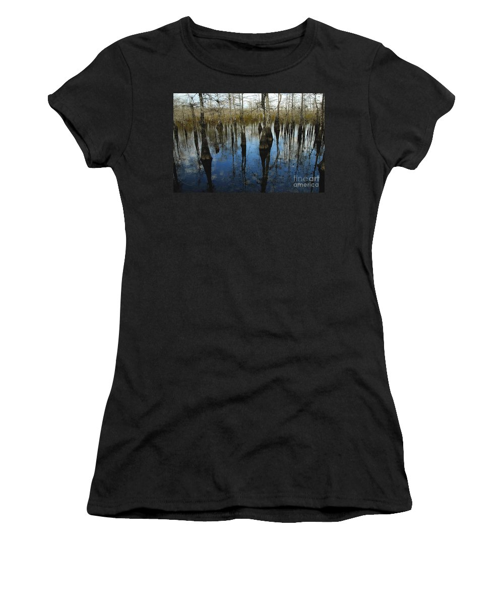 Bald Cypress Trees Women's T-Shirt (Athletic Fit) featuring the photograph Reflections At Big Cypress by David Lee Thompson