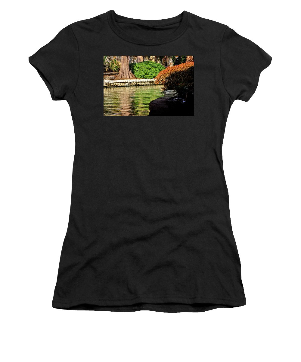 Riverwalk Women's T-Shirt (Athletic Fit) featuring the photograph Reflections From The Riverwalk by Frances Hattier