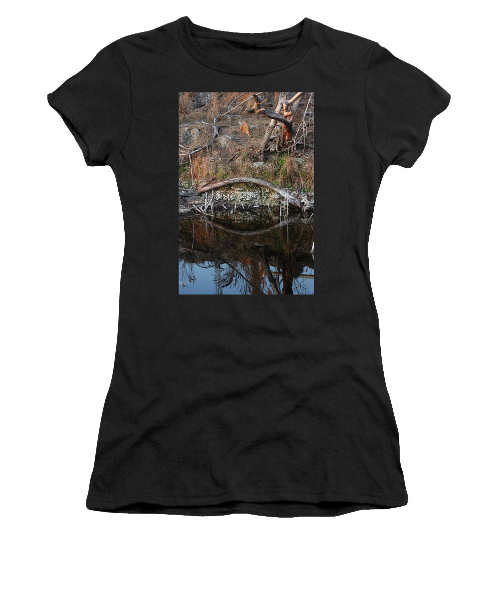 Iguana Women's T-Shirt (Athletic Fit) featuring the photograph Reflections Iguana by Rob Hans
