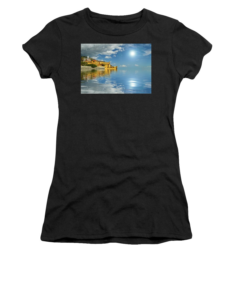 Sun Women's T-Shirt featuring the photograph Reflections -madeira by Gordon Bowdery