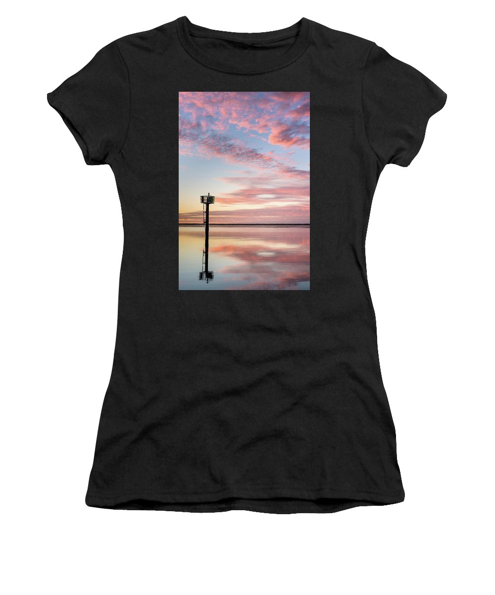 Humboldt Bay Women's T-Shirt (Athletic Fit) featuring the photograph Reflections On Falling Dusk by Greg Nyquist