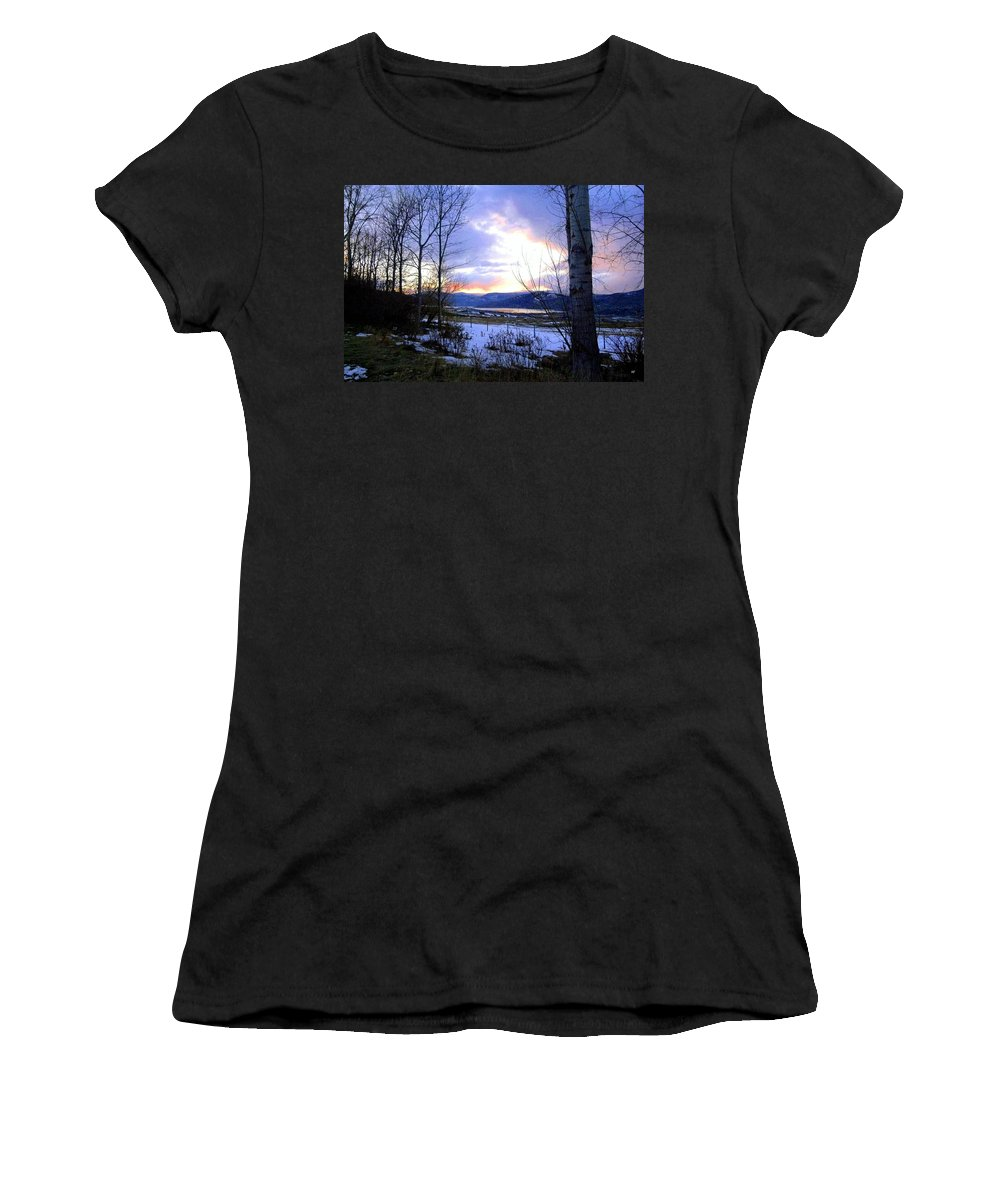 Sunset Women's T-Shirt (Athletic Fit) featuring the photograph Reflections On Lake Okanagan by Will Borden