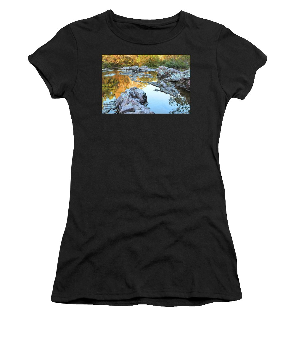 Ozark Landscape Women's T-Shirt (Athletic Fit) featuring the photograph Reflections On Rocky Creek 2 by Greg Matchick