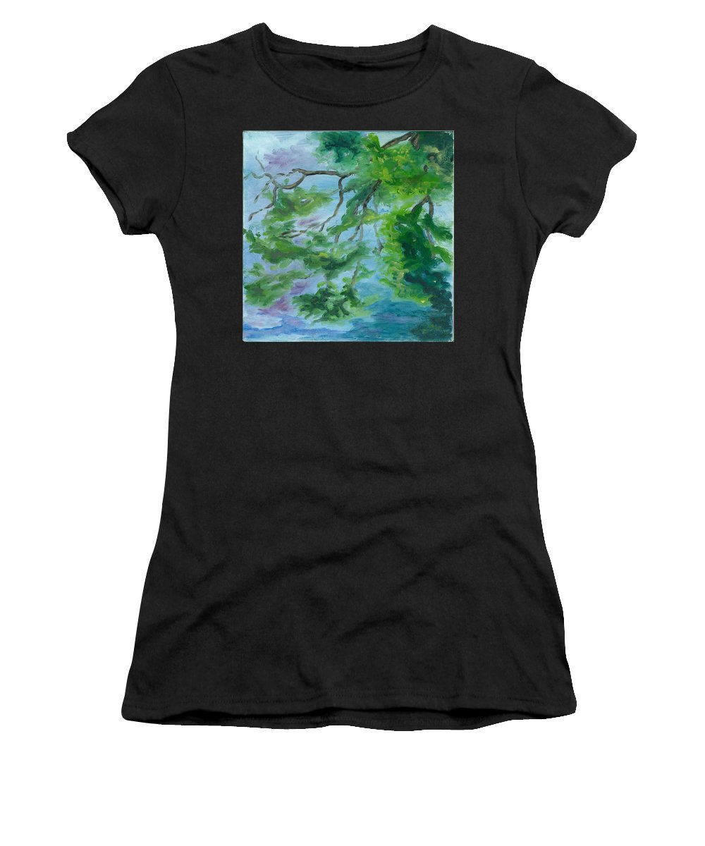 Reflections Women's T-Shirt (Athletic Fit) featuring the painting Reflections On The Mill Pond by Paula Emery