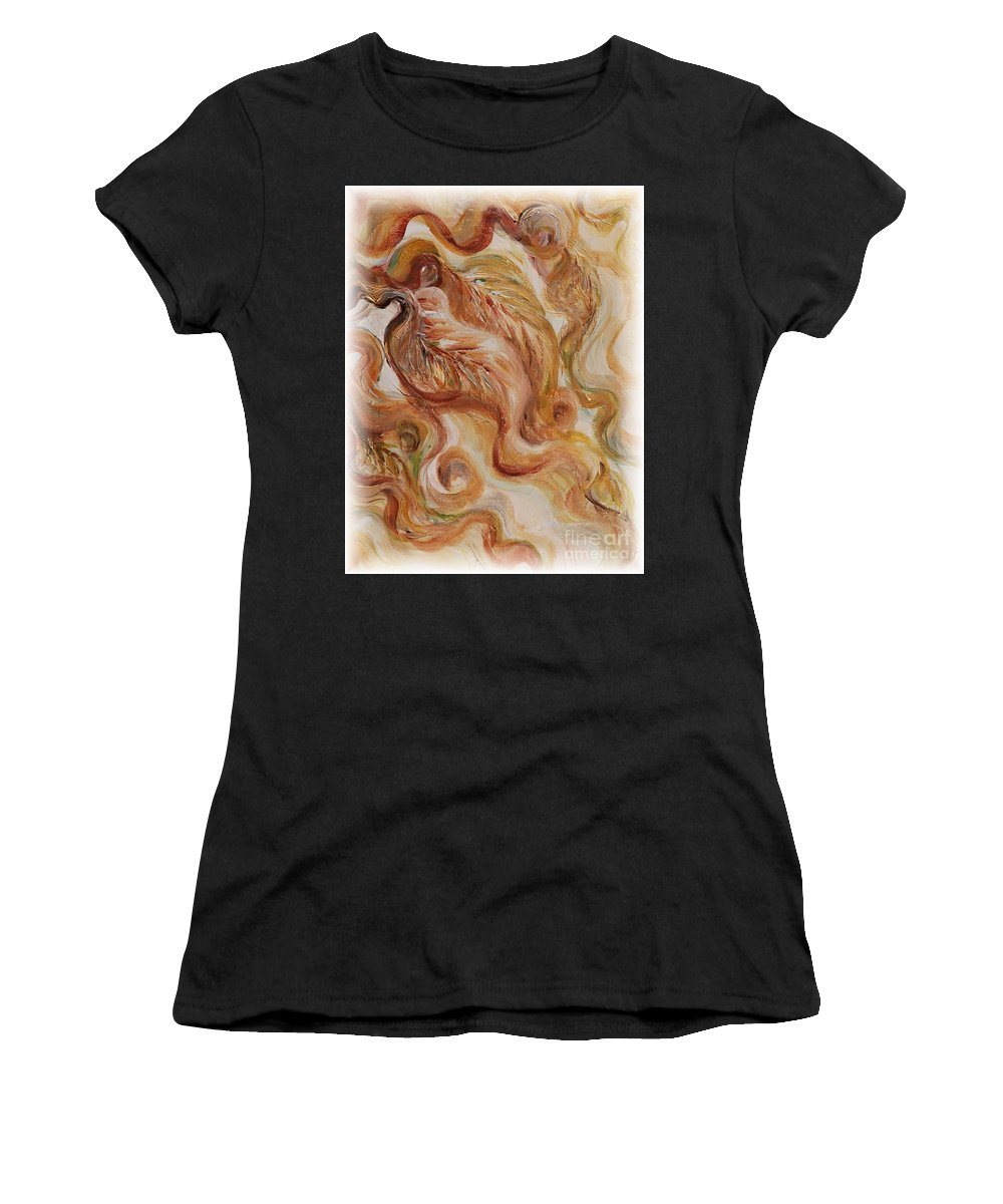 Leaves Women's T-Shirt (Athletic Fit) featuring the painting Reflective Leaves by Nadine Rippelmeyer