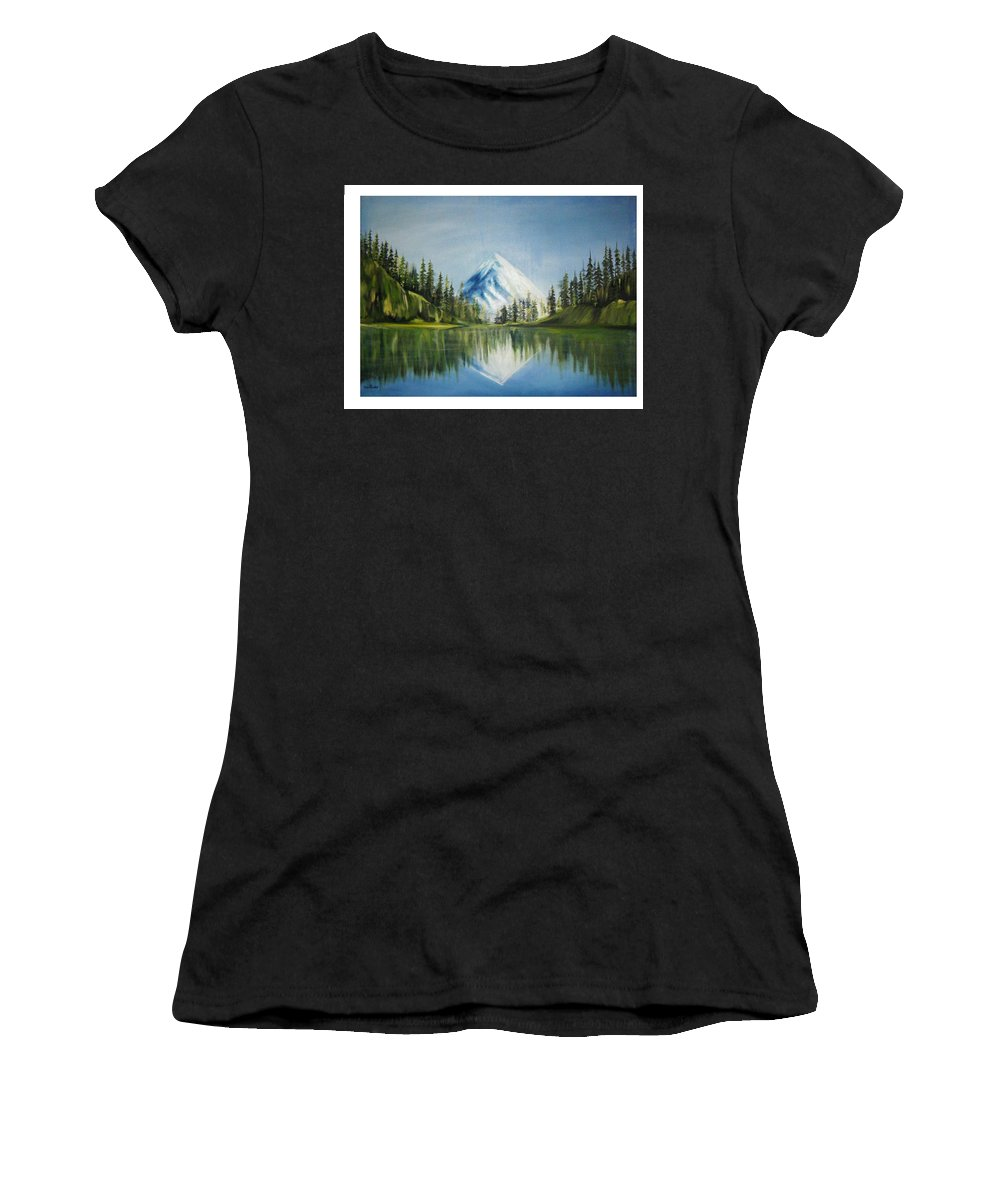 Oil Women's T-Shirt (Athletic Fit) featuring the painting Reflexion 2 by Olaoluwa Smith