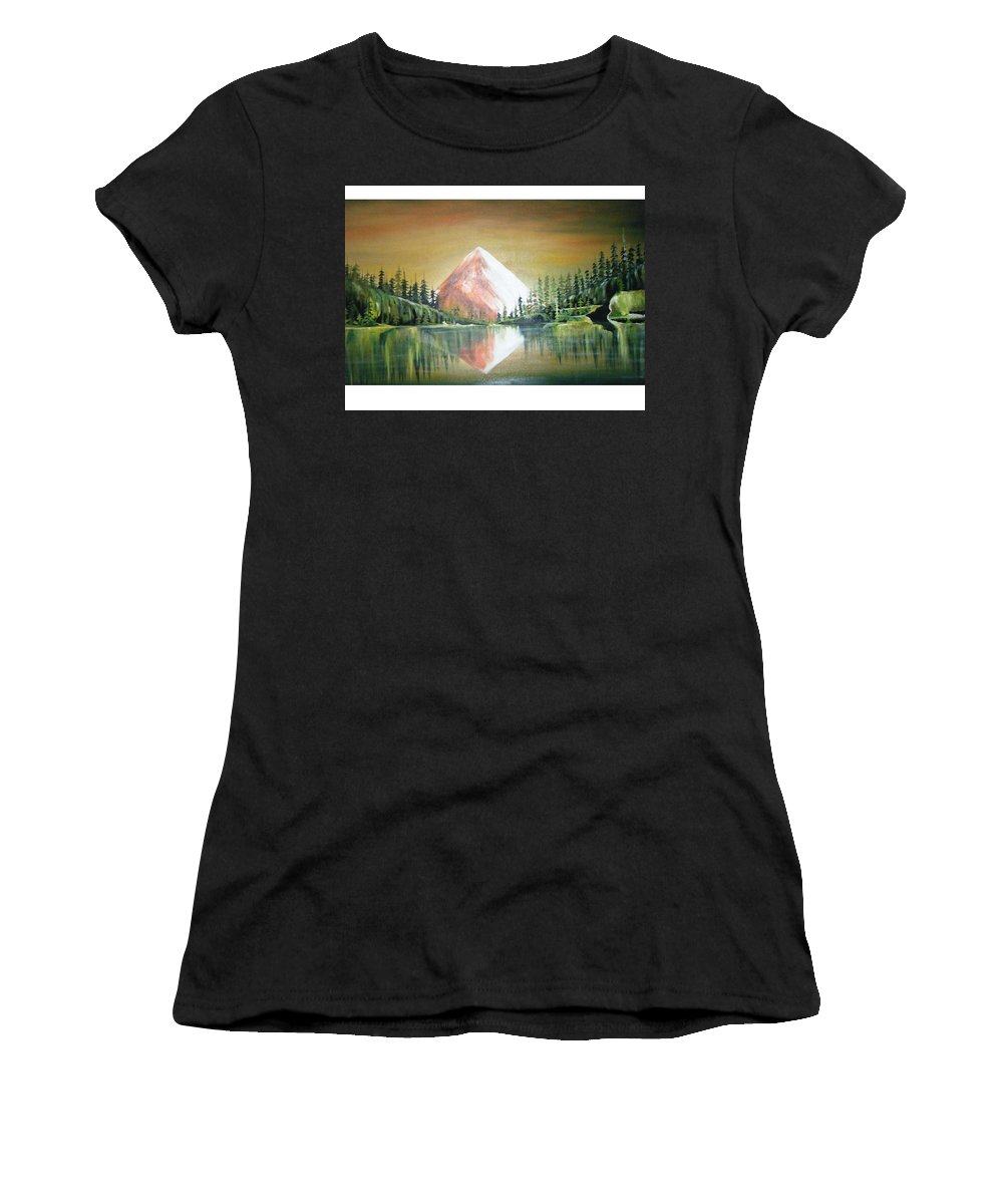 Oil Women's T-Shirt (Athletic Fit) featuring the painting Reflexion by Olaoluwa Smith