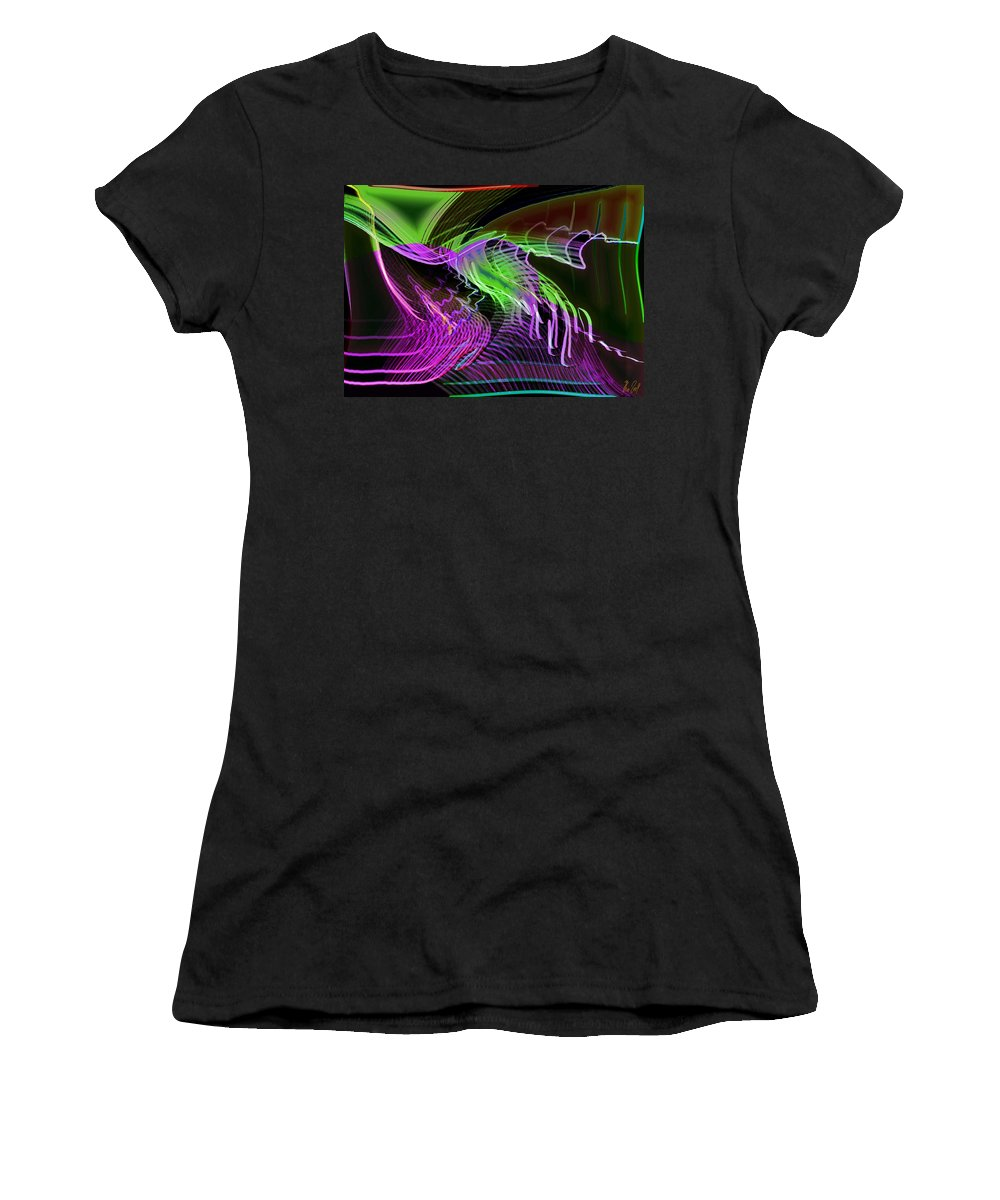 Drawing Women's T-Shirt (Athletic Fit) featuring the digital art Reflexions Green by Helmut Rottler