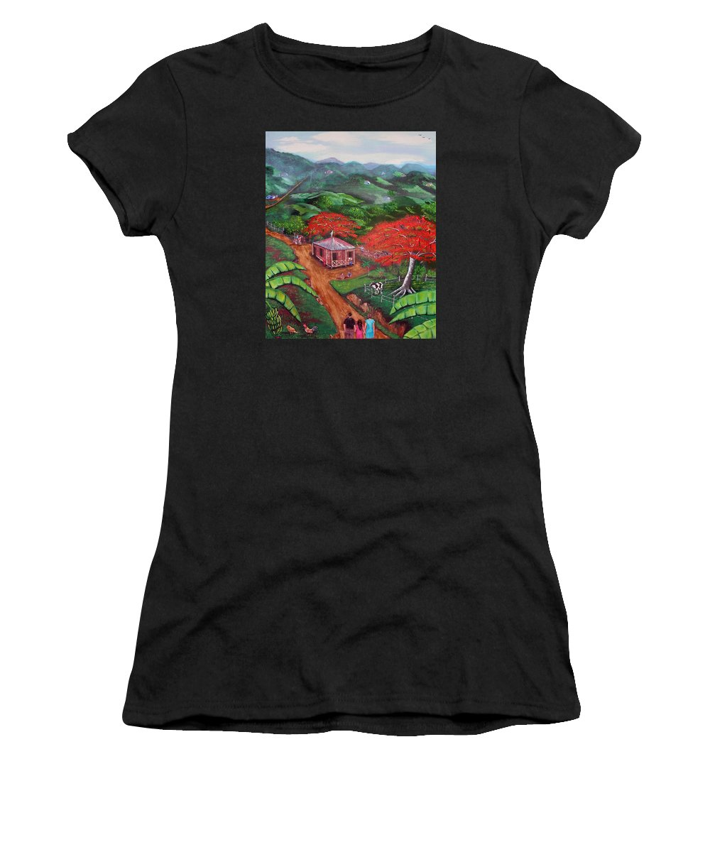 Flamboyan Women's T-Shirt featuring the painting Regreso Al Campo by Luis F Rodriguez