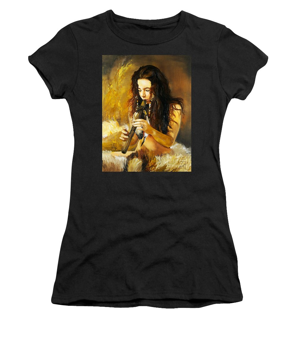 Woman Women's T-Shirt (Athletic Fit) featuring the painting Release by J W Baker