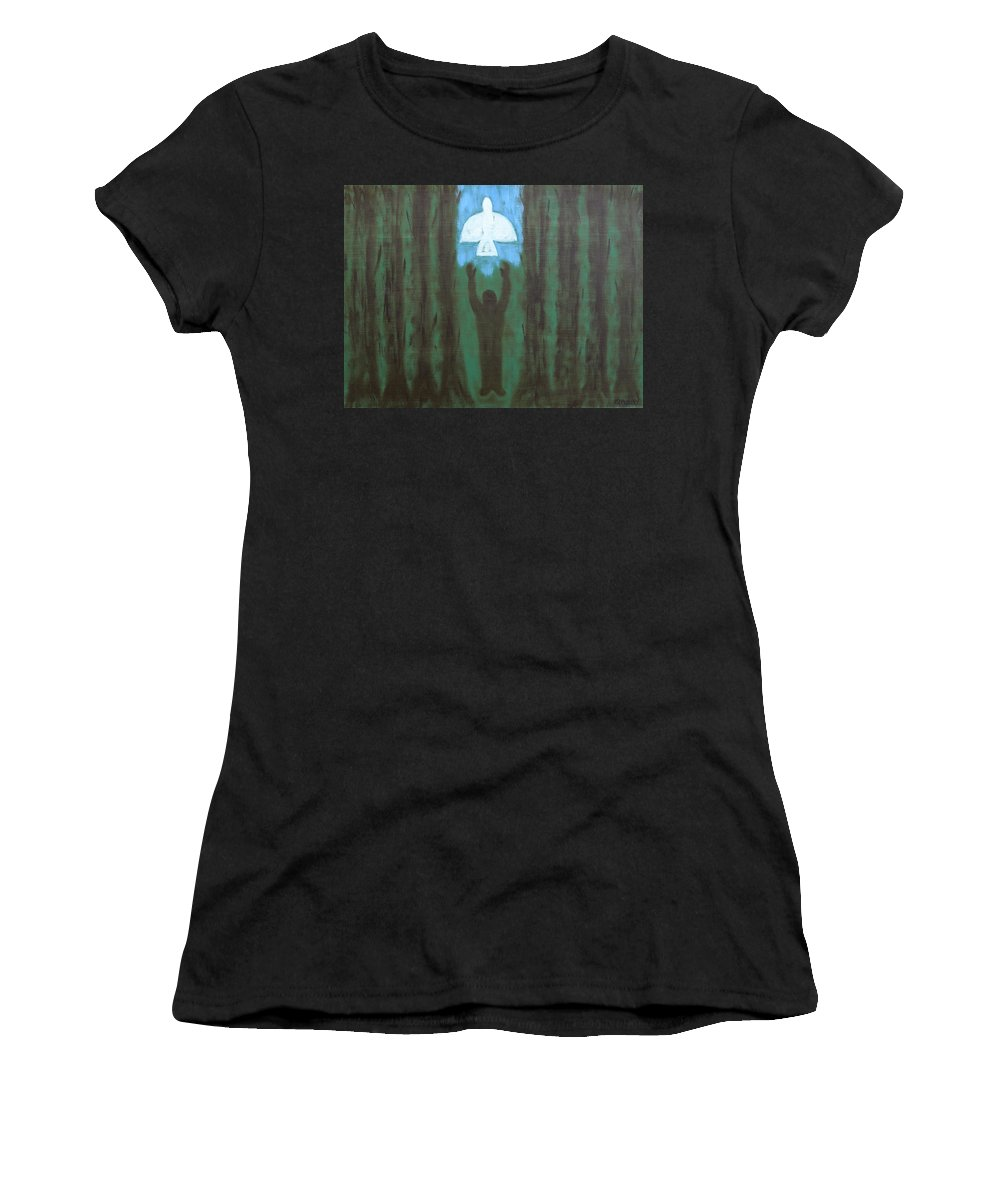 Doves Women's T-Shirt (Athletic Fit) featuring the painting Releasing The Dove by Patrick J Murphy