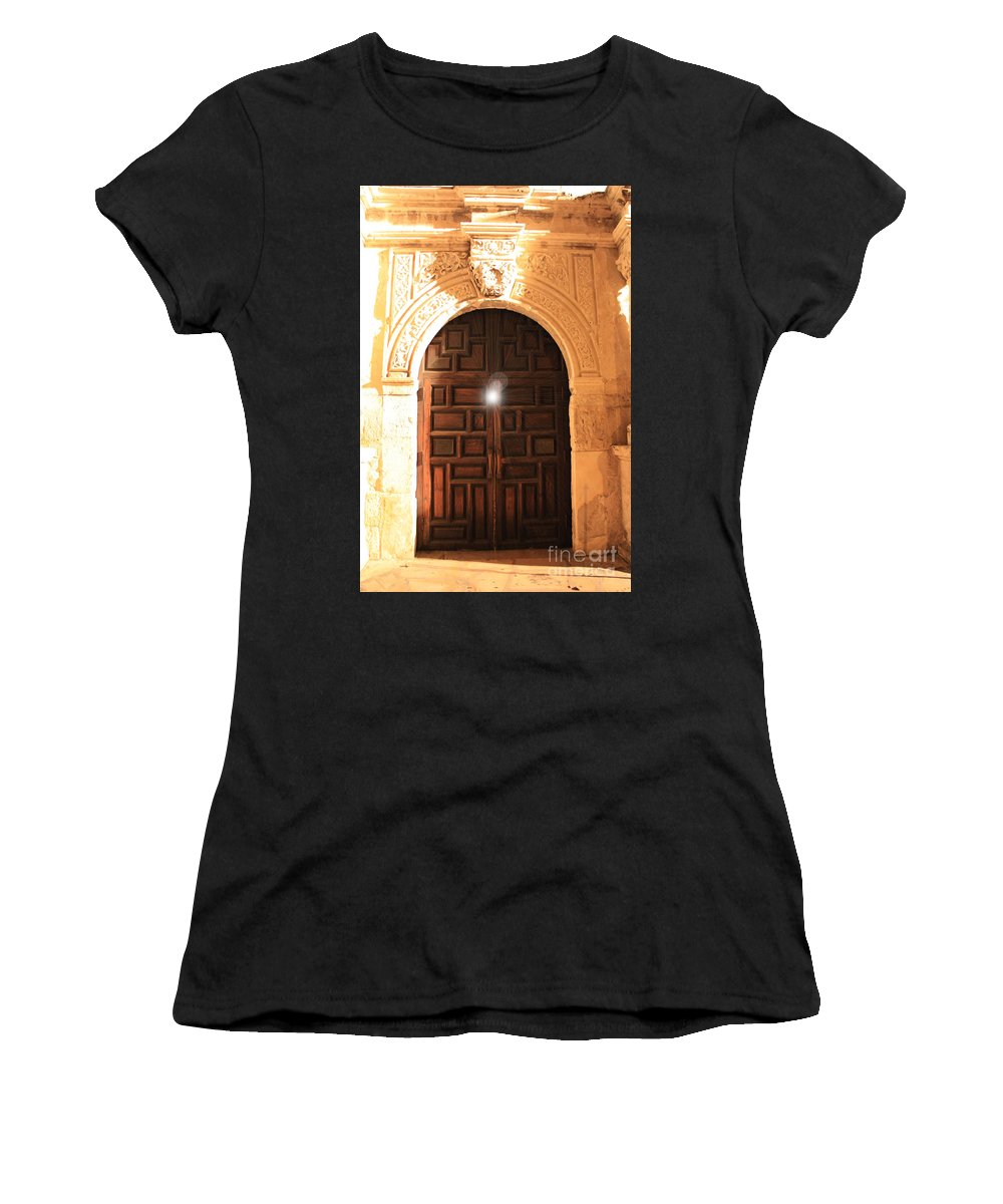 Spirit Of The Alamo Women's T-Shirt (Athletic Fit) featuring the photograph Remembering The Spirit Of The Alamo by Carol Groenen