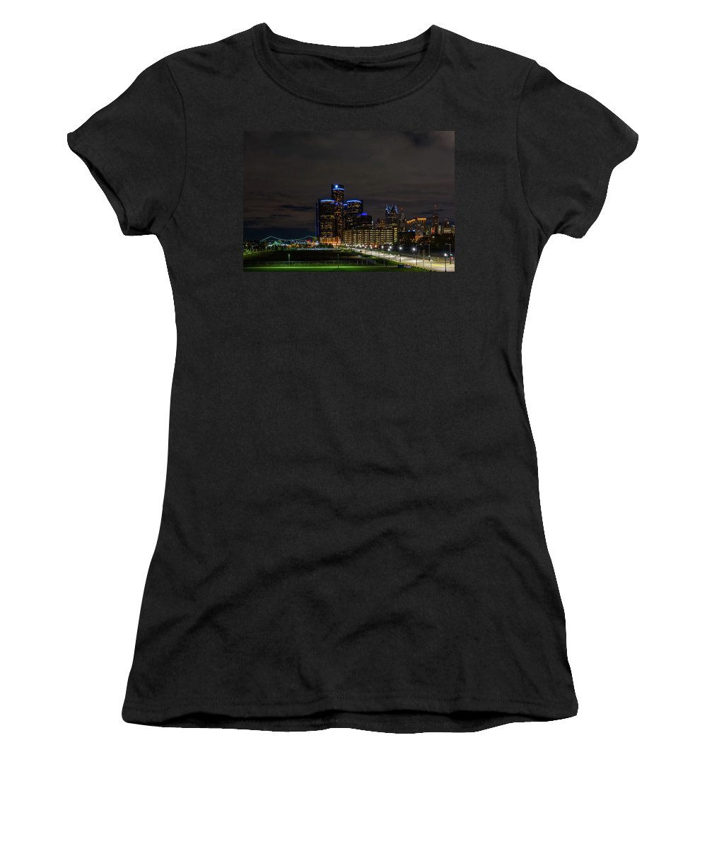 Detroit Women's T-Shirt (Athletic Fit) featuring the photograph Renaissance At Night by Michael Tucker