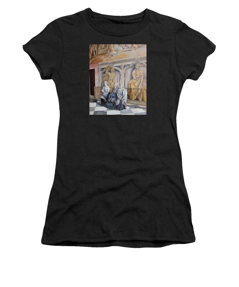Vaticano Women's T-Shirt (Athletic Fit) featuring the painting Reposo En El Vaticano by Tomas Castano
