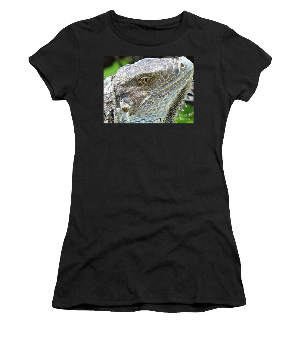 Iguana Women's T-Shirt (Athletic Fit) featuring the photograph Reptilian by Carlos Amaro