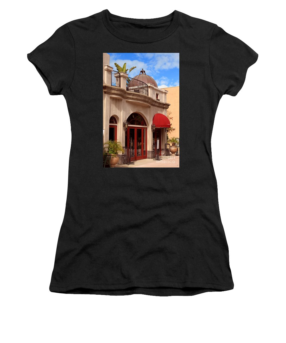 Quaint Women's T-Shirt (Athletic Fit) featuring the photograph Restaurant In The Plaza by James Eddy