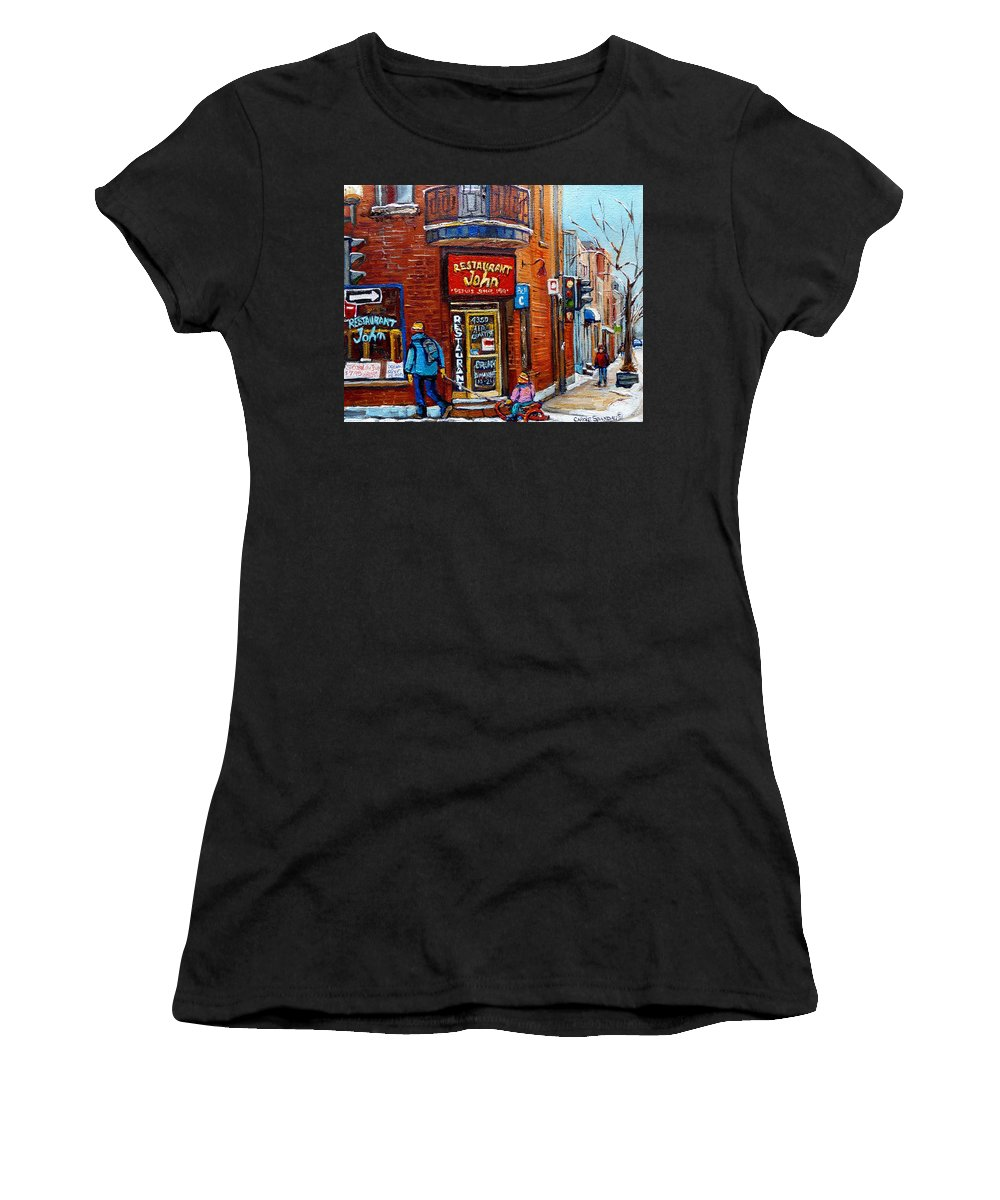 Restaurant John Montreal Women's T-Shirt (Athletic Fit) featuring the painting Restaurant John Montreal by Carole Spandau