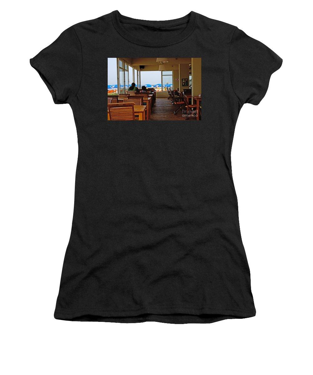 Beach Women's T-Shirt (Athletic Fit) featuring the photograph Restaurant On A Beach In Tel Aviv Israel by Zal Latzkovich
