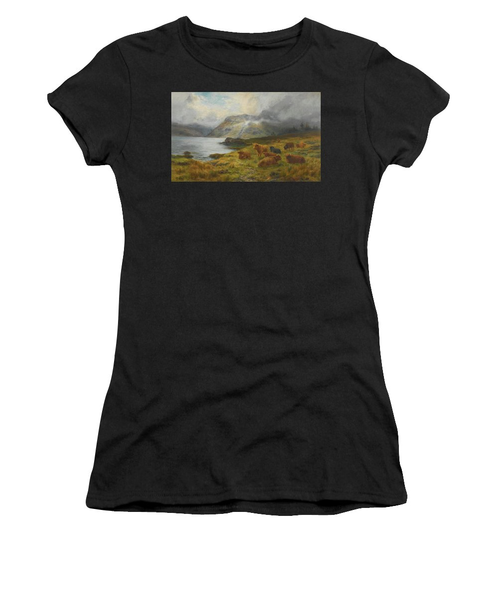 Louis Bosworth Hurt 1856-1929 Highland Cattle Resting By A Loch Women's T-Shirt (Athletic Fit) featuring the painting Resting By A Loch by Louis Bosworth