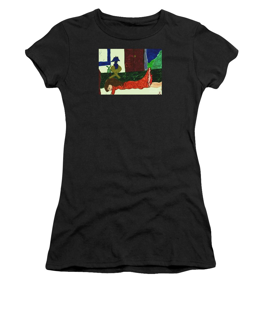 Girl Resting On A Bed Women's T-Shirt featuring the mixed media Resting by Elinor Helen Rakowski