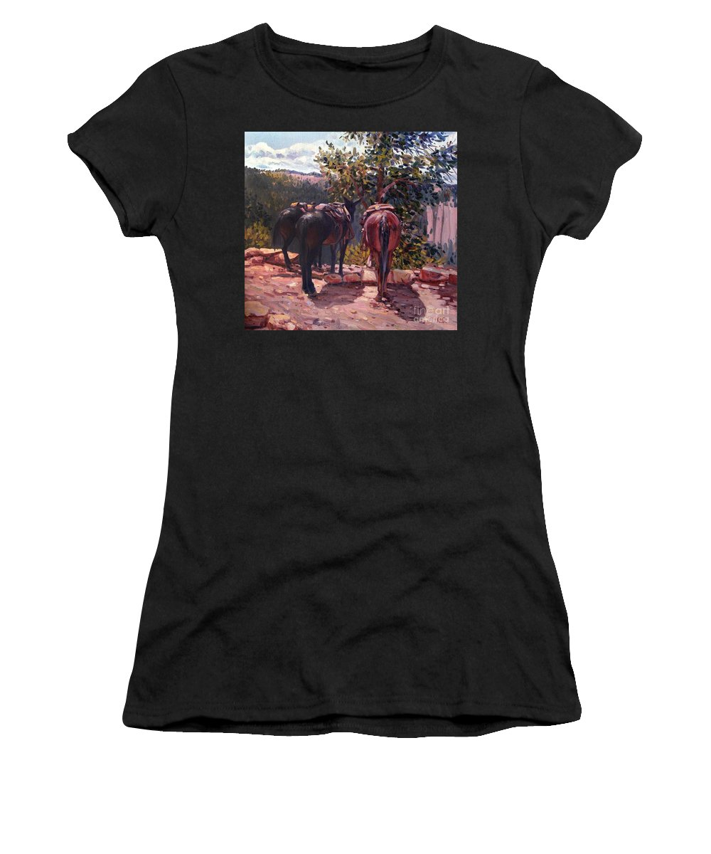 Mules Women's T-Shirt (Athletic Fit) featuring the painting Resting On The Kaibab Trail by Donald Maier