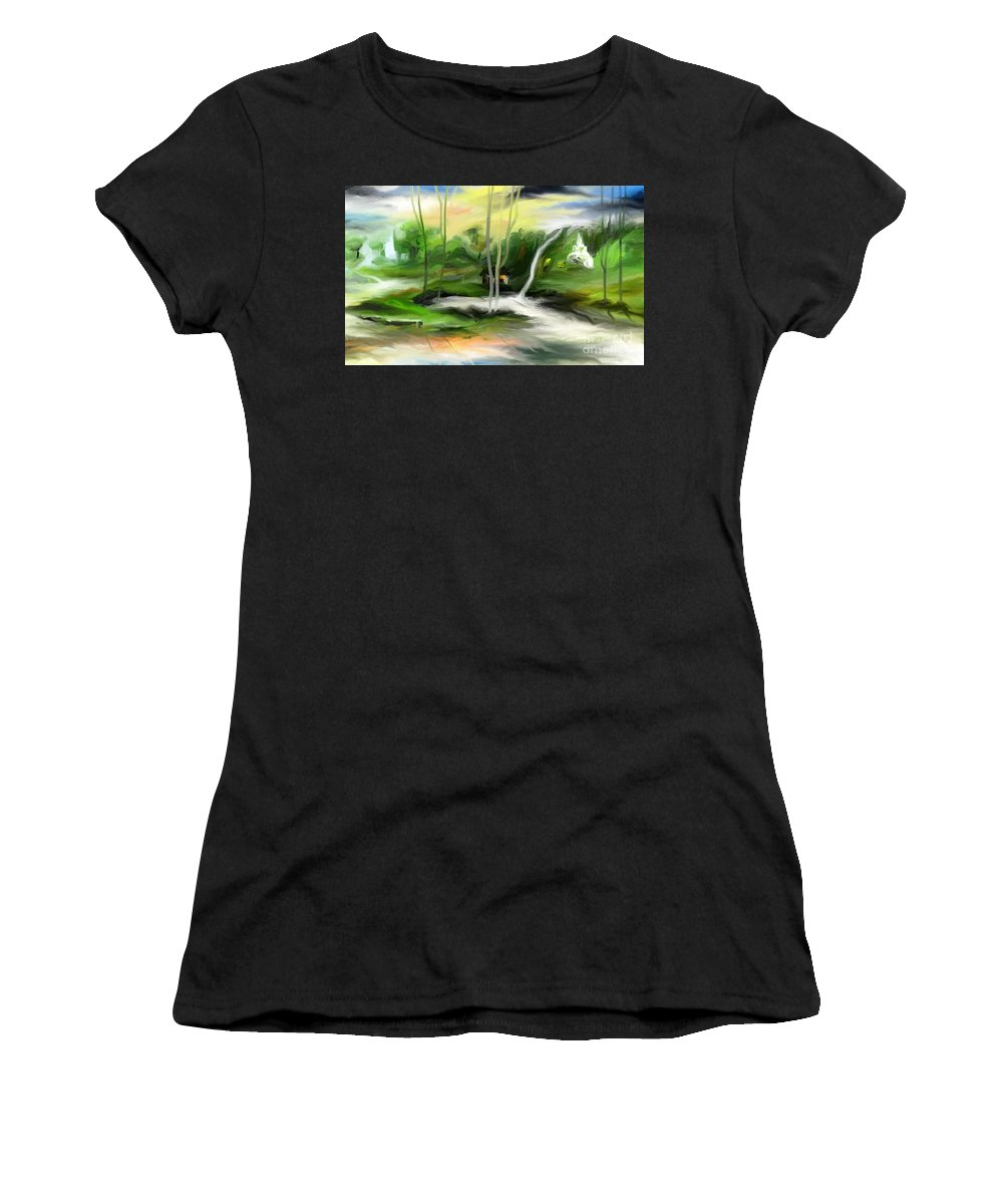 Digital Women's T-Shirt (Athletic Fit) featuring the painting Retreat by Rushan Ruzaick