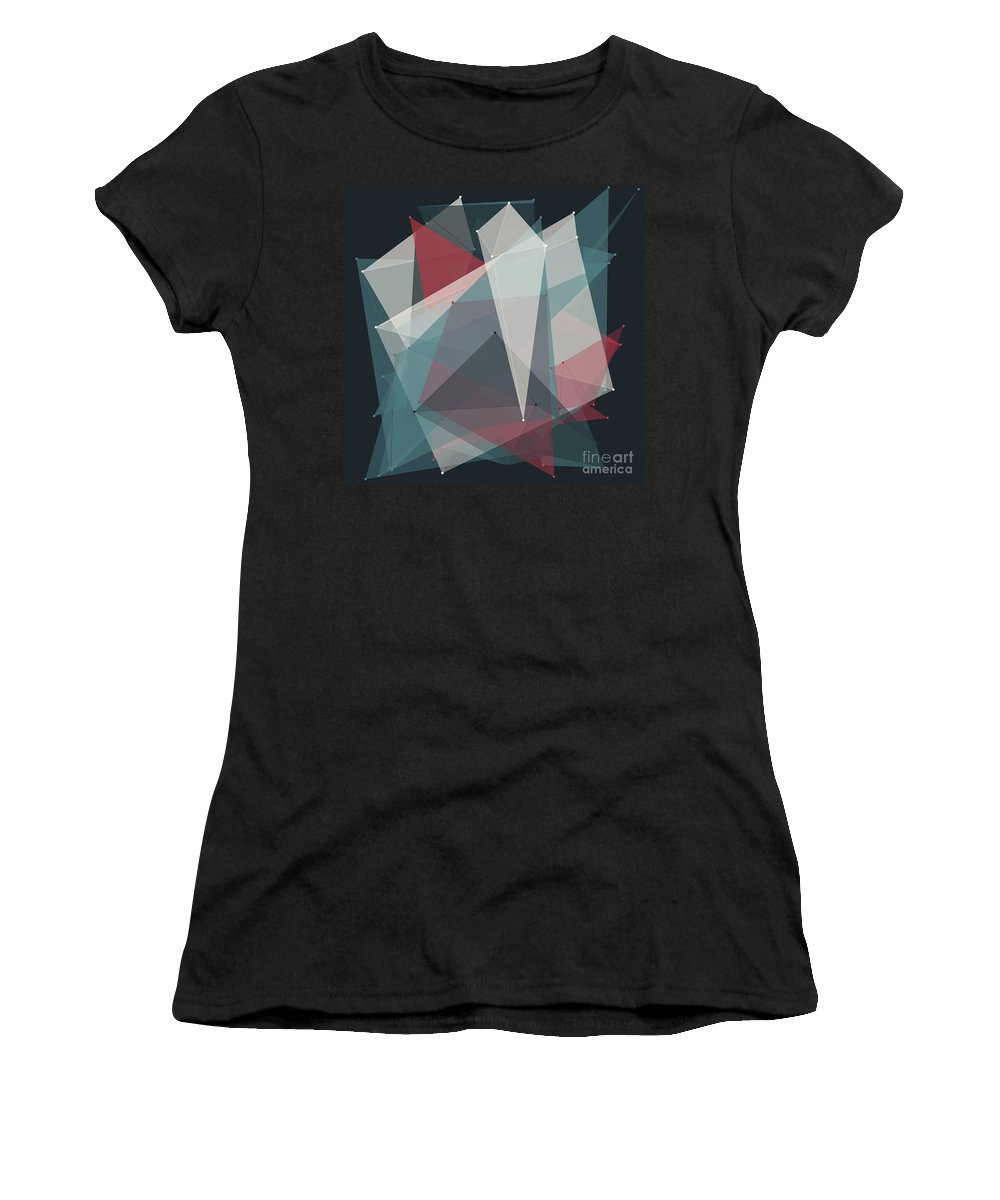 Abstract Women's T-Shirt (Athletic Fit) featuring the digital art Retro Polygon Pattern by Frank Ramspott