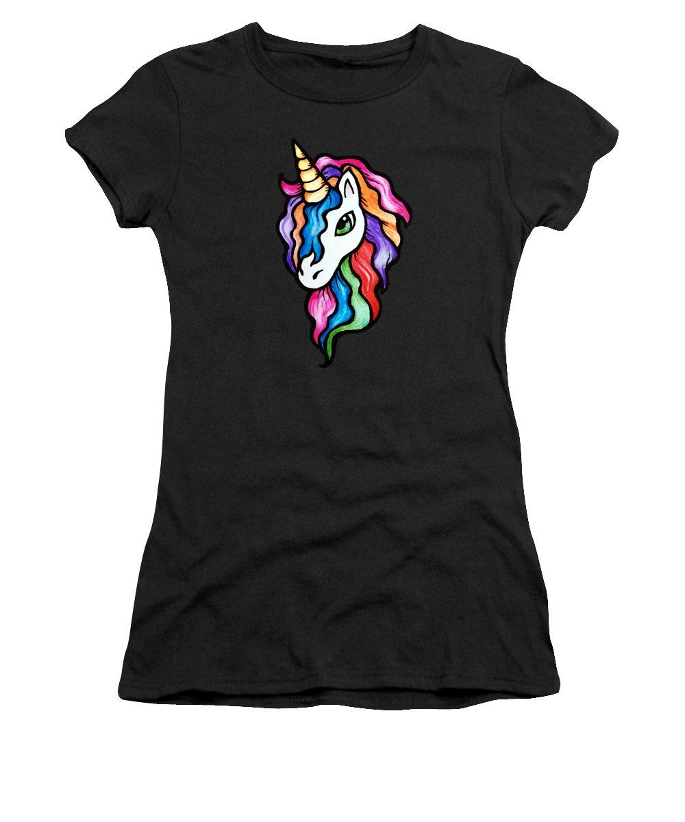 Retro Rainbow Unicorn Women's T-Shirt featuring the painting Retro Rainbow Unicorn by BubbSnugg LC