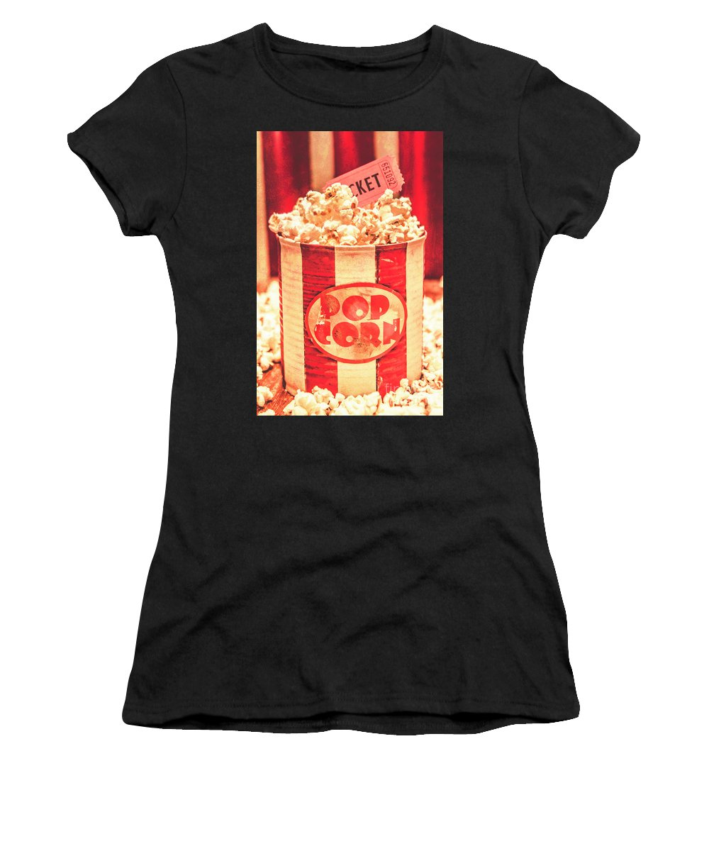 Cinema Women's T-Shirt featuring the photograph Retro Tub Of Butter Popcorn And Ticket Stub by Jorgo Photography - Wall Art Gallery