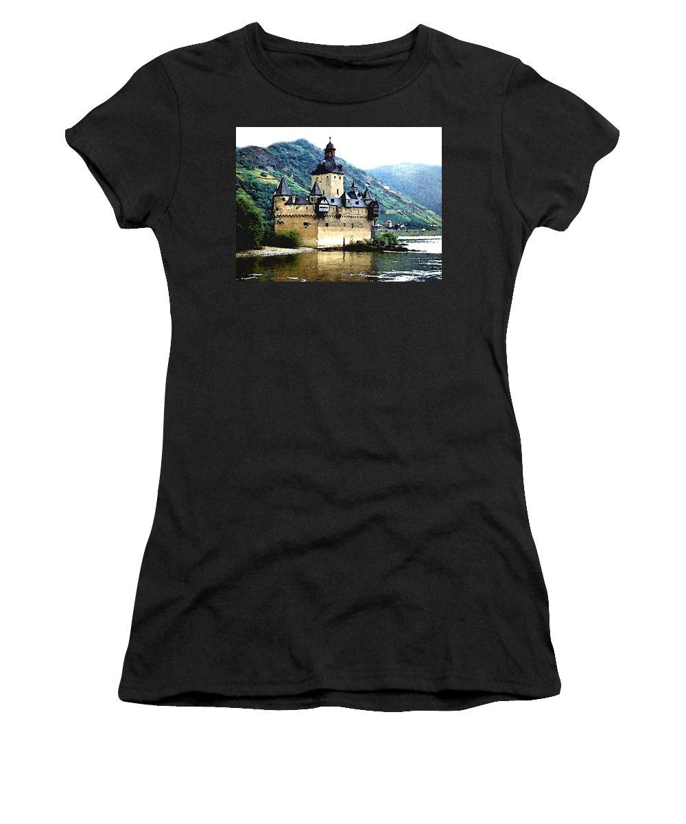 Castle Women's T-Shirt (Athletic Fit) featuring the painting Rhine River Castle by Paul Sachtleben