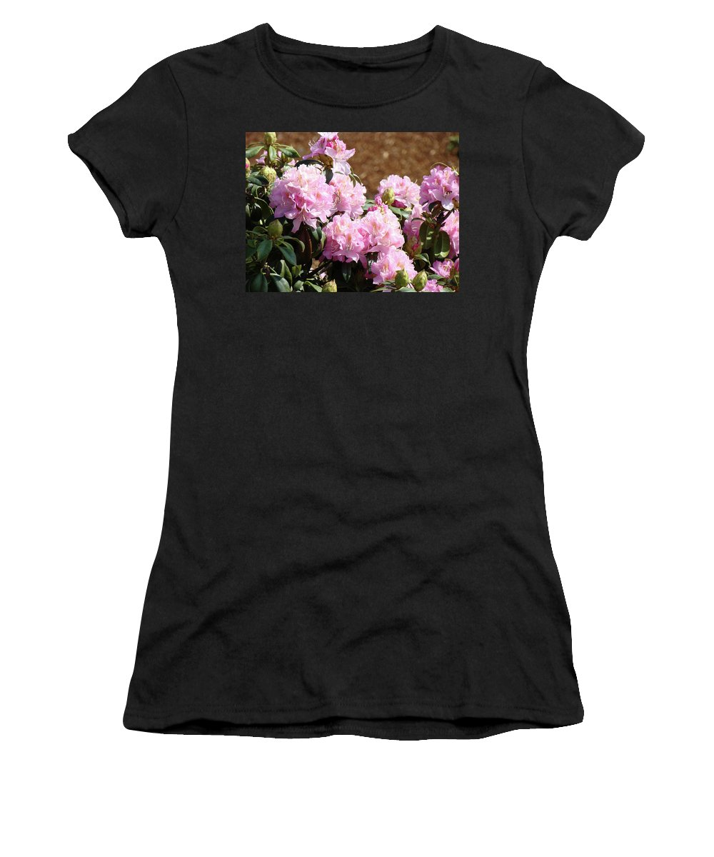 Rhodie Women's T-Shirt featuring the photograph Rhododendron Flower Garden Art Prints Canvas Pink Rhodies Baslee Troutman by Baslee Troutman