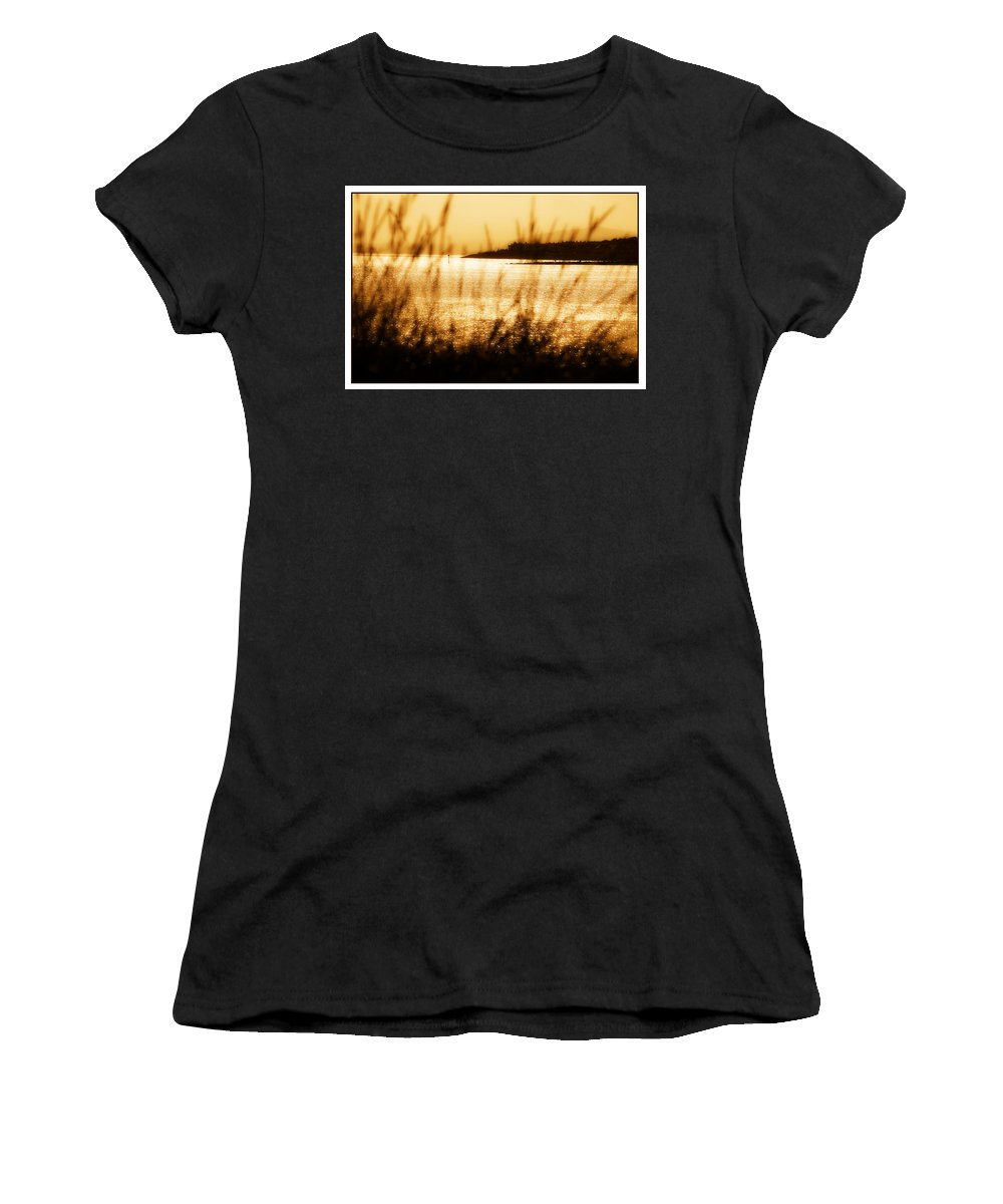Rhos Women's T-Shirt (Athletic Fit) featuring the photograph Rhos Point Viewed Through Beach Grass by Mal Bray