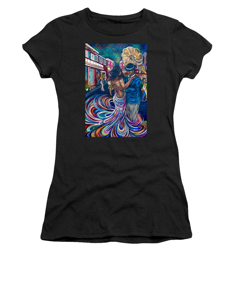 Jazz Women's T-Shirt featuring the painting Rhythm And Hues by Lauren Webb