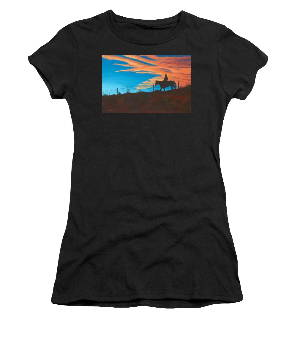Cowboy Women's T-Shirt featuring the painting Riding Fence by Jerry McElroy