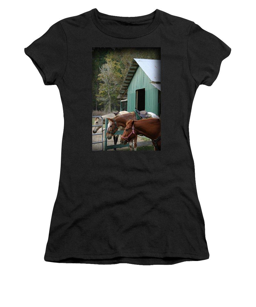 Horse Women's T-Shirt featuring the digital art Riding Horses by Kim Henderson