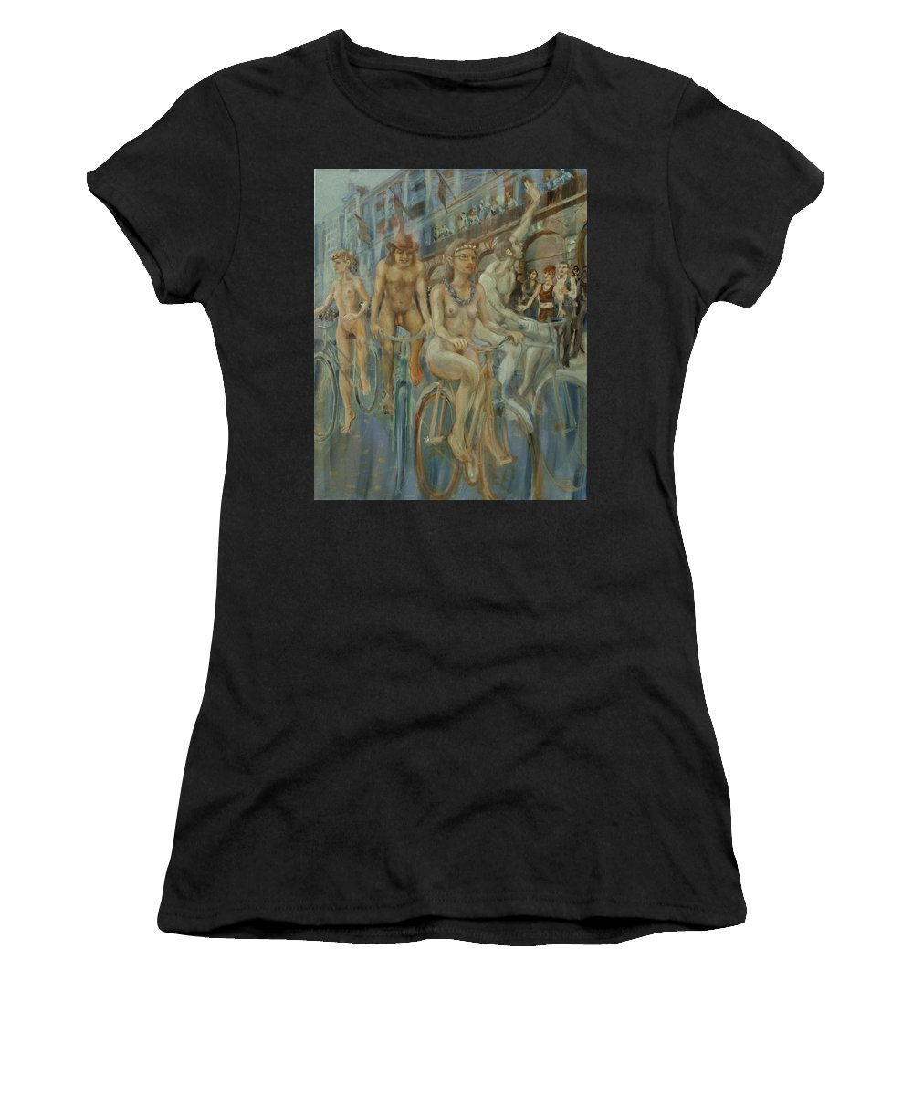 Nudes Women's T-Shirt featuring the painting Riding Passed Le Meridien In June by Peregrine Roskilly