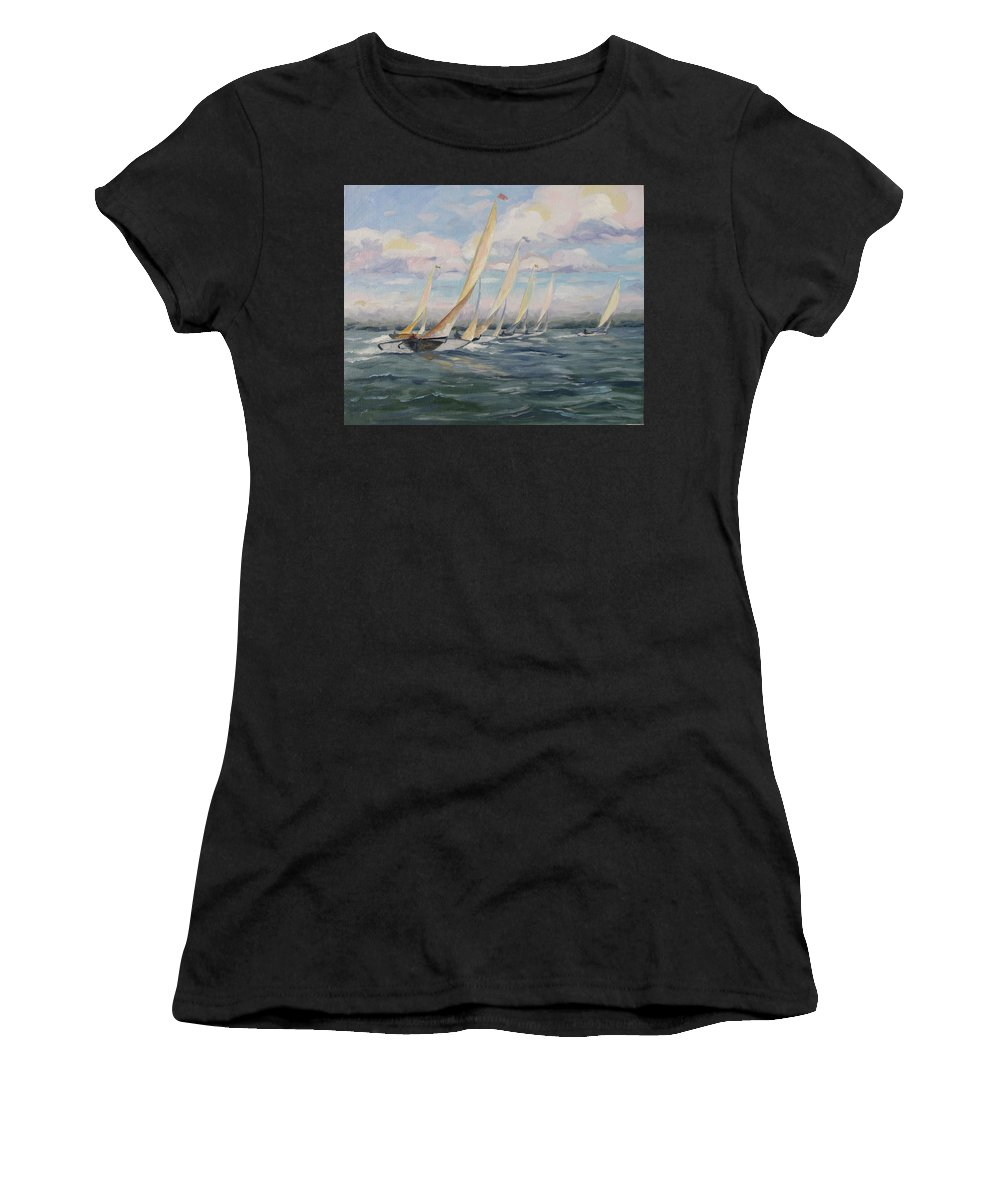 Riding Waves Women's T-Shirt (Athletic Fit) featuring the painting Riding The Waves by Jay Johnson