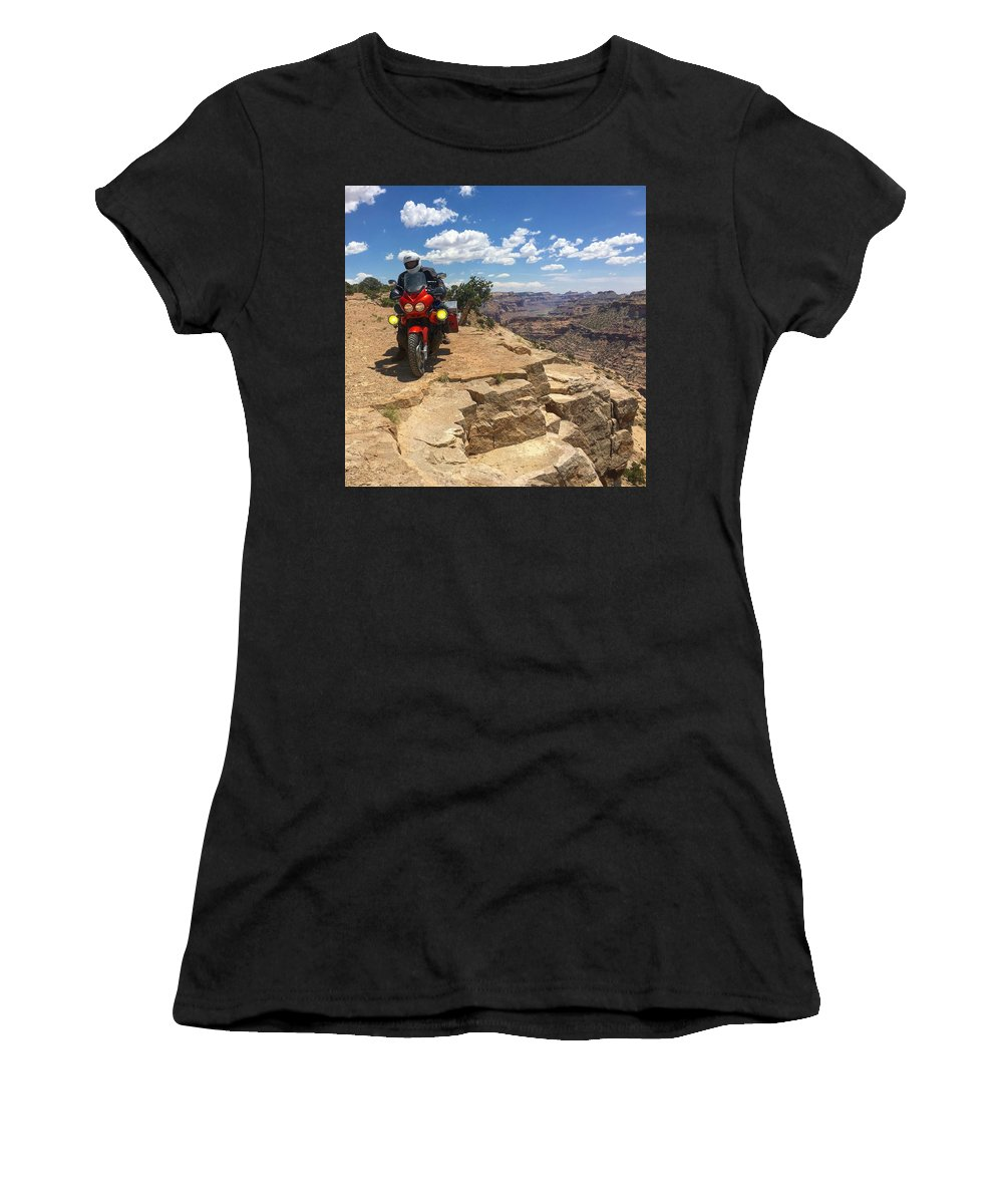 Biker Women's T-Shirt (Athletic Fit) featuring the photograph Riding The Wedge Overlook by Ron Brown Photography