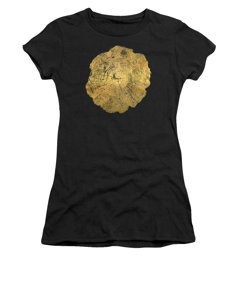 'inconsequential Beauty' Collection By Serge Averbukh Women's T-Shirt featuring the digital art Rings Of A Tree Trunk Cross-section In Gold On Linen Beige by Serge Averbukh
