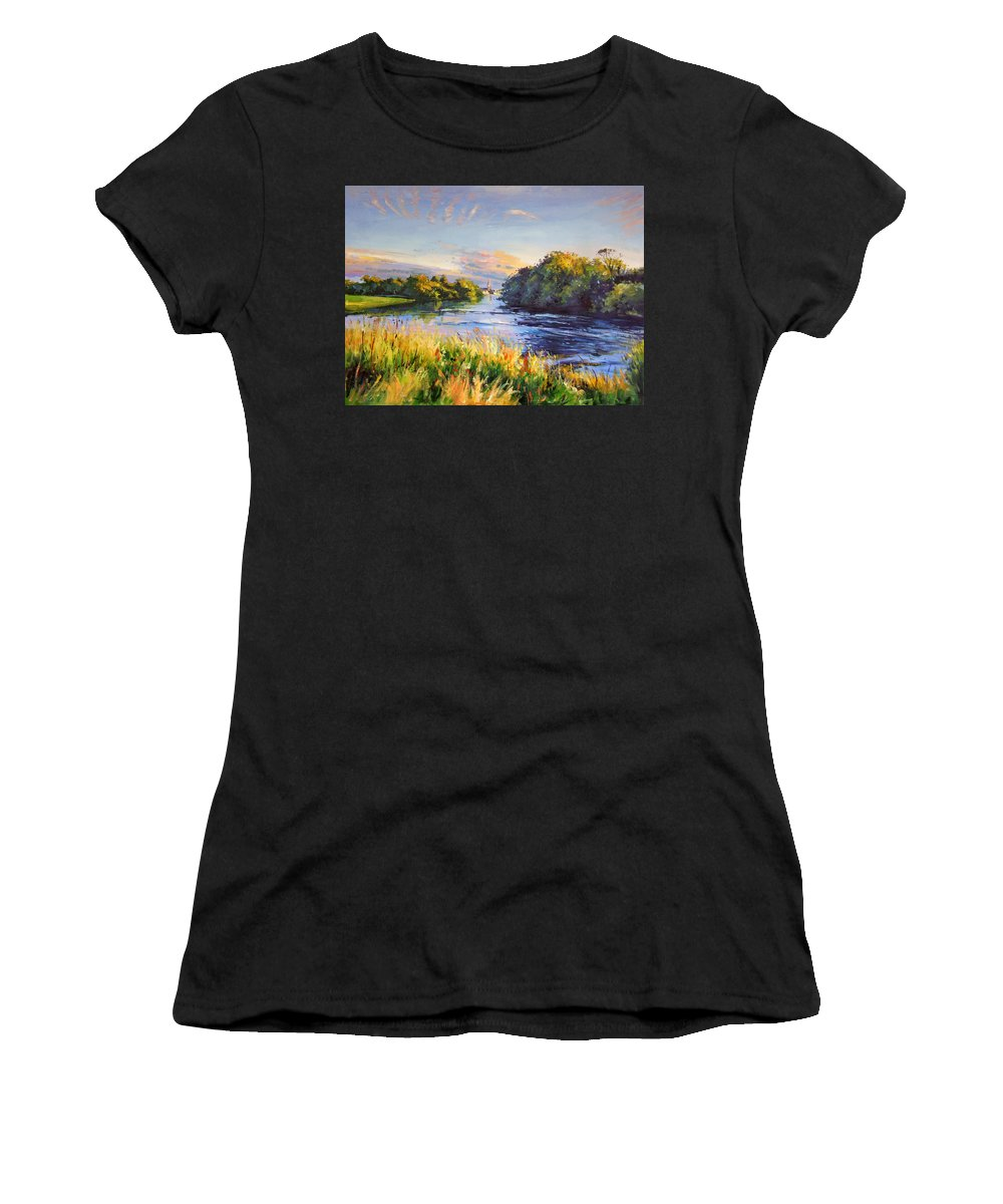 River Moy Ballina Women's T-Shirt (Athletic Fit) featuring the painting River Moy At Ballina by Conor McGuire