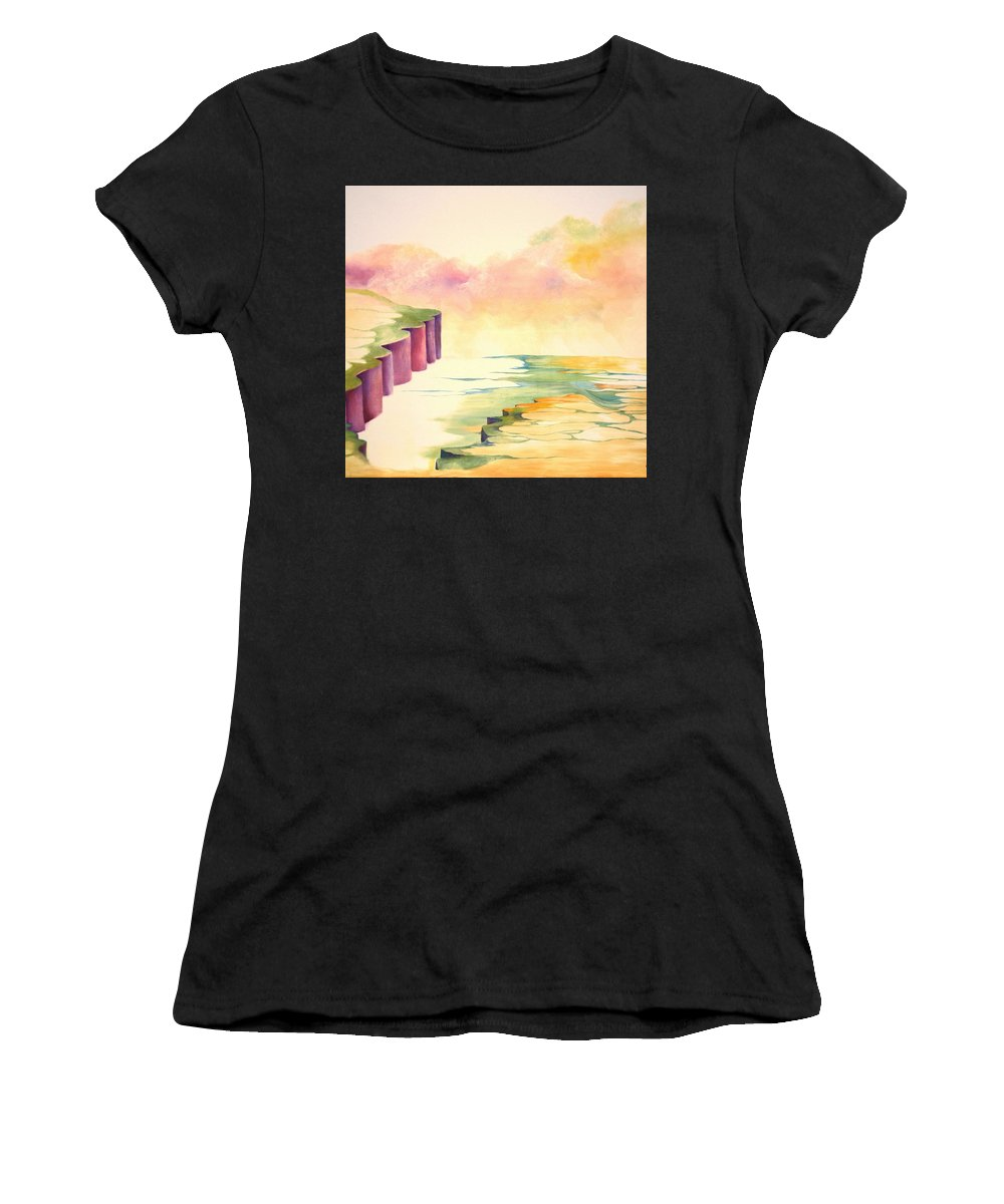 Painting Women's T-Shirt (Athletic Fit) featuring the painting River by Peggy Guichu
